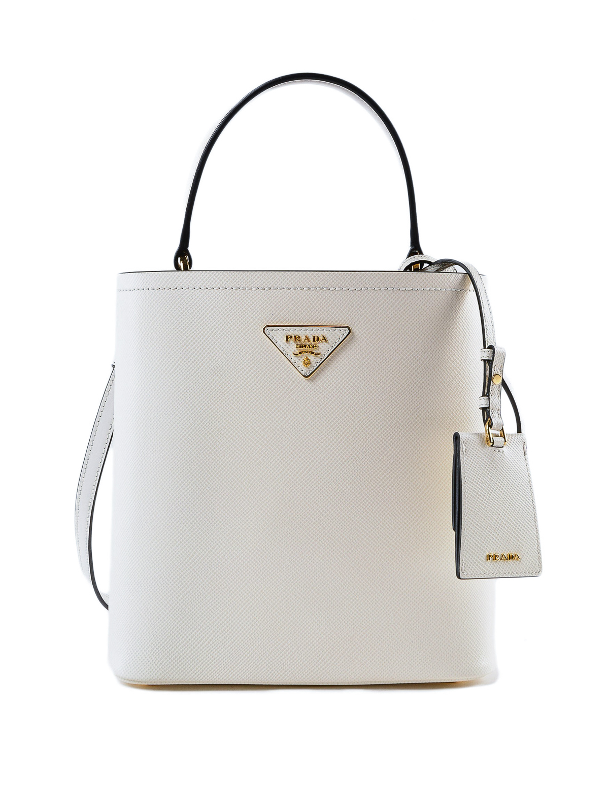 Prada White Saffiano Leather Double Bucket Bag Bucket Bags 1ba2122erxg3z