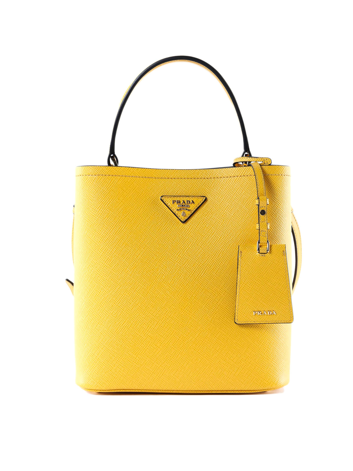 Prada - Yellow Saffiano leather double bucket bag - Bucket bags ... d77bffedbeb43