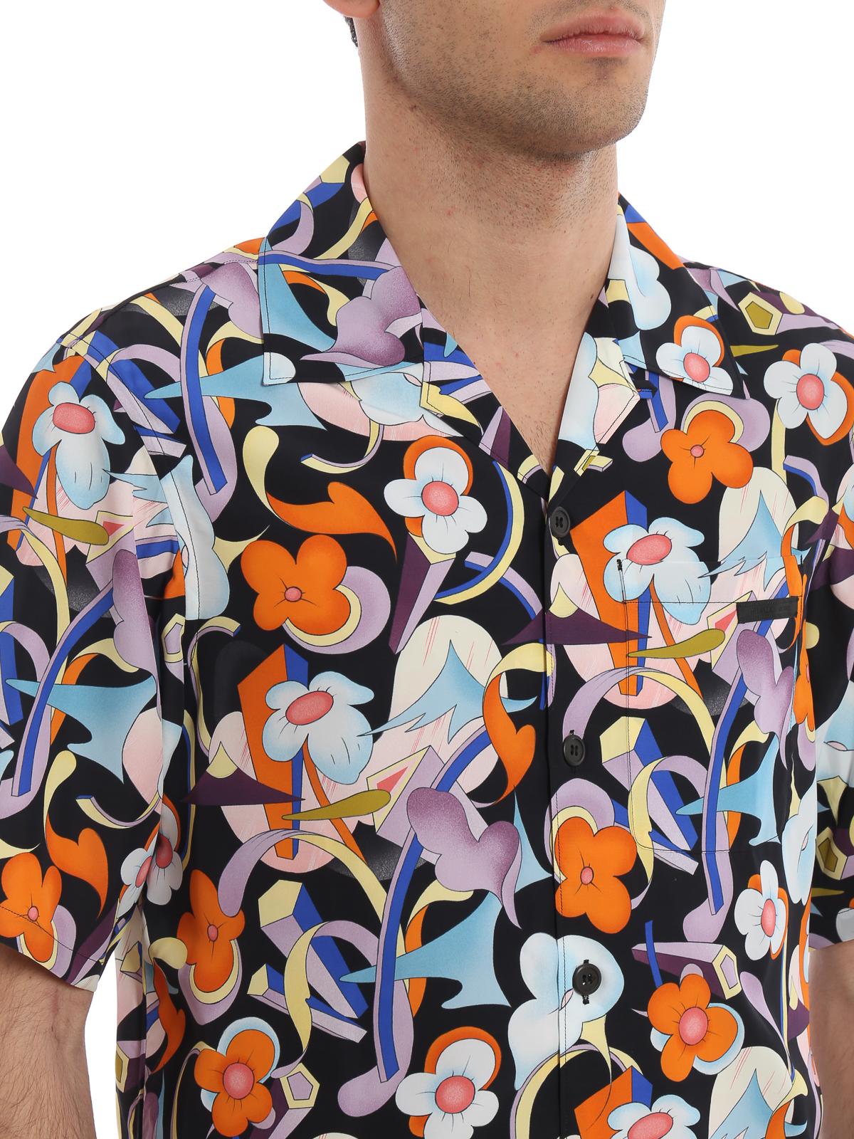 3bb4bc02 Prada - Abstract floral print short sleeve shirt - shirts ...