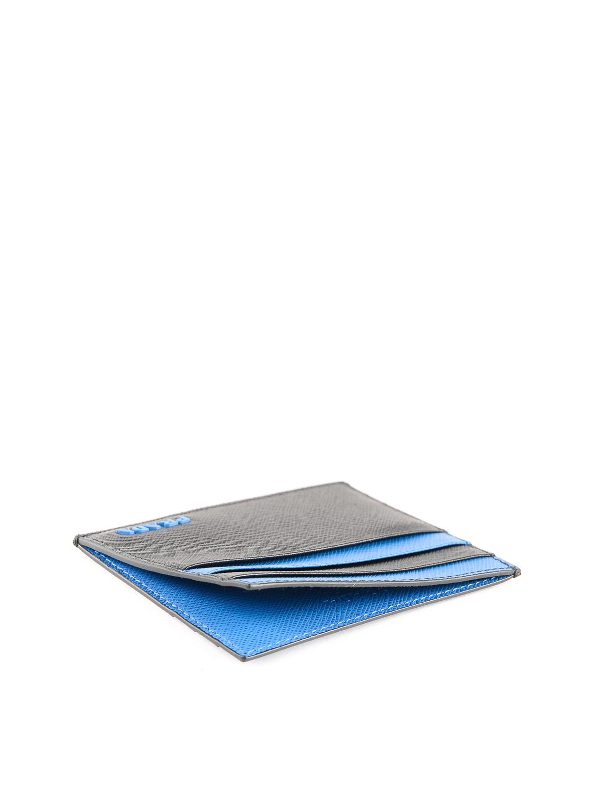 0f7013e0cebc PRADA buy online Black and blue Saffiano leather card holder. PRADA: wallets  & purses ...