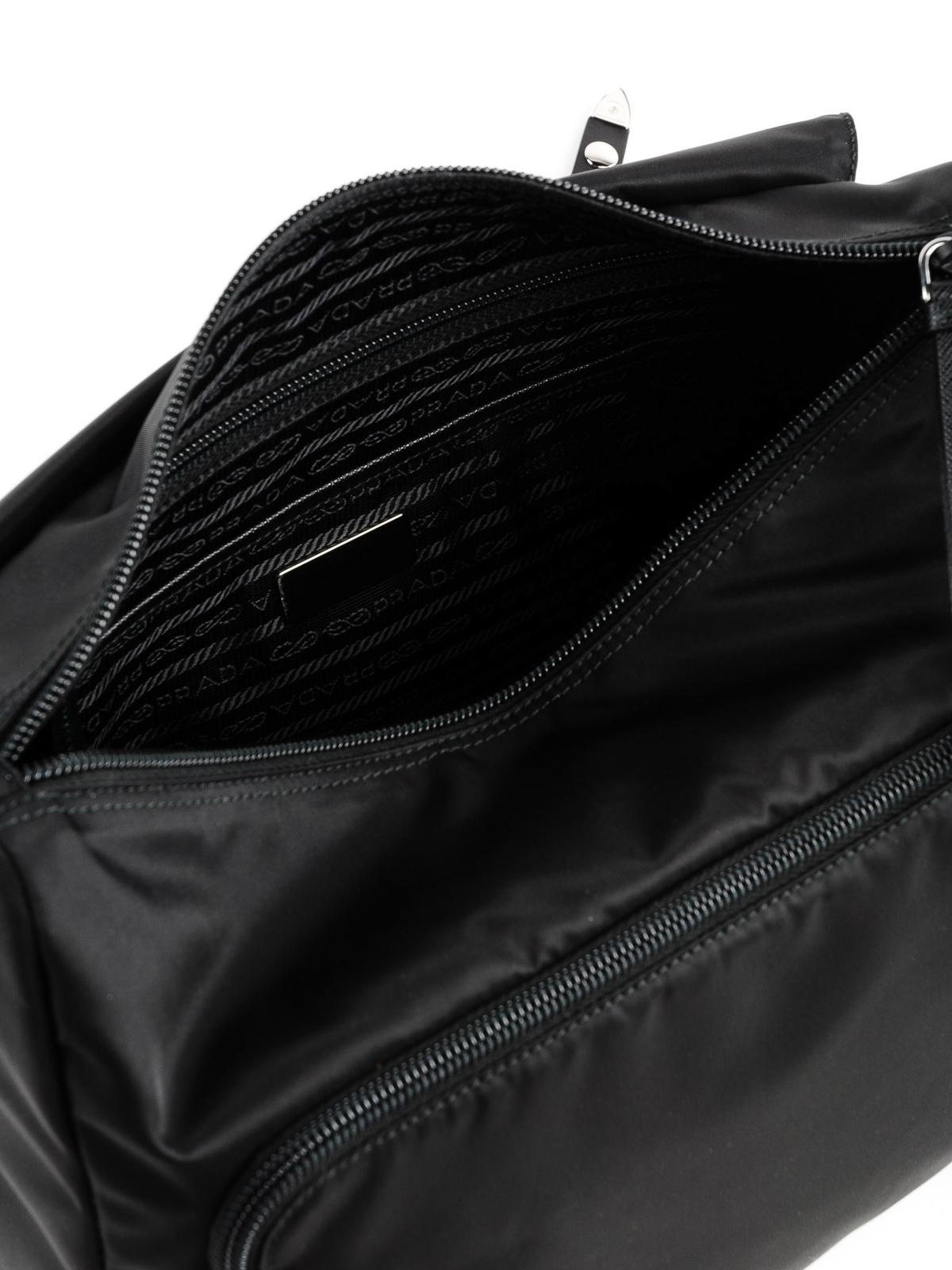 7acfad2d381184 Prada - Black nylon belt bag with silver studs - belt bags ...