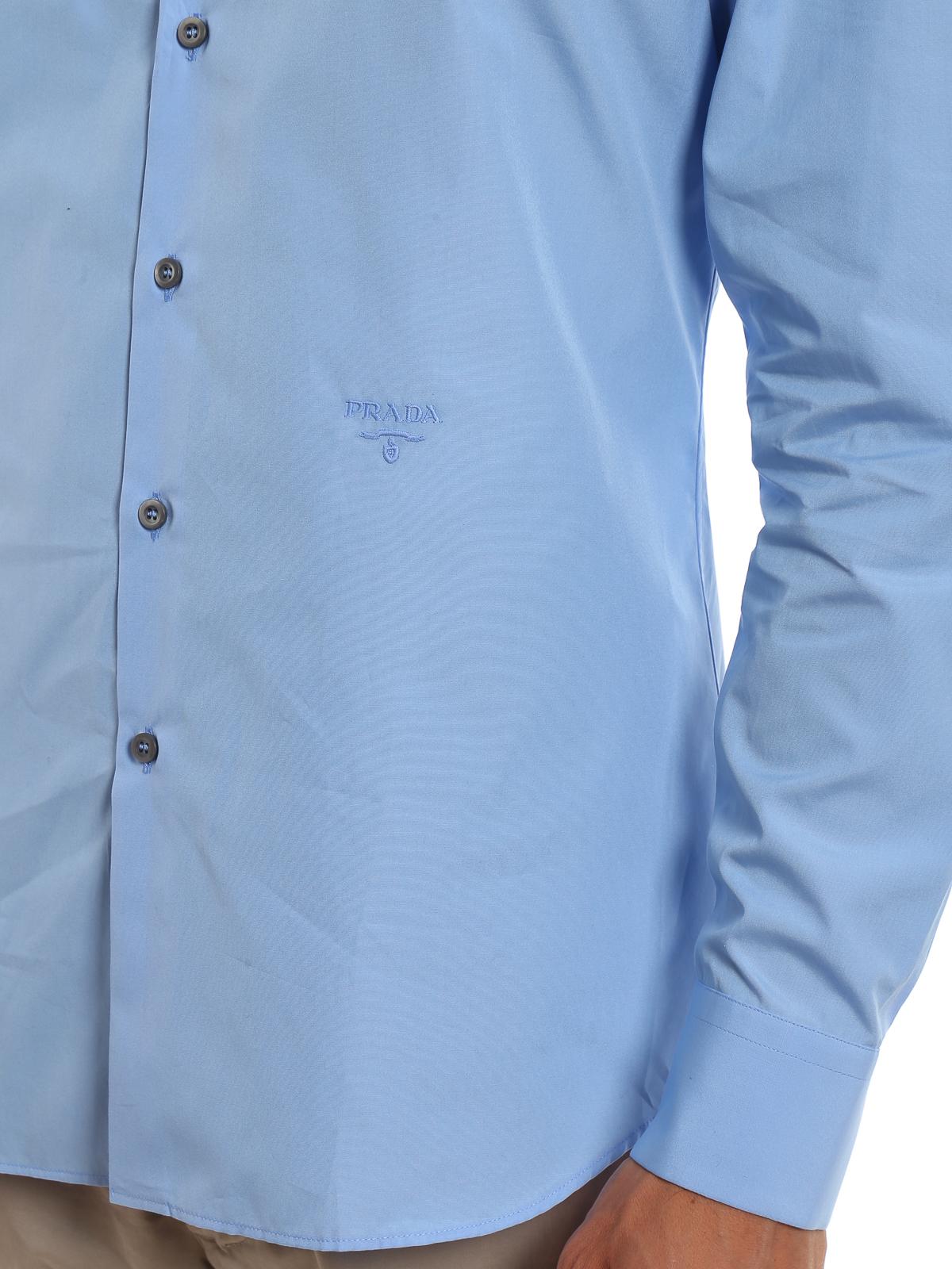 87ee13a7de Prada - Lightweight poplin sky blue shirt - shirts - UCM6081Q8T013