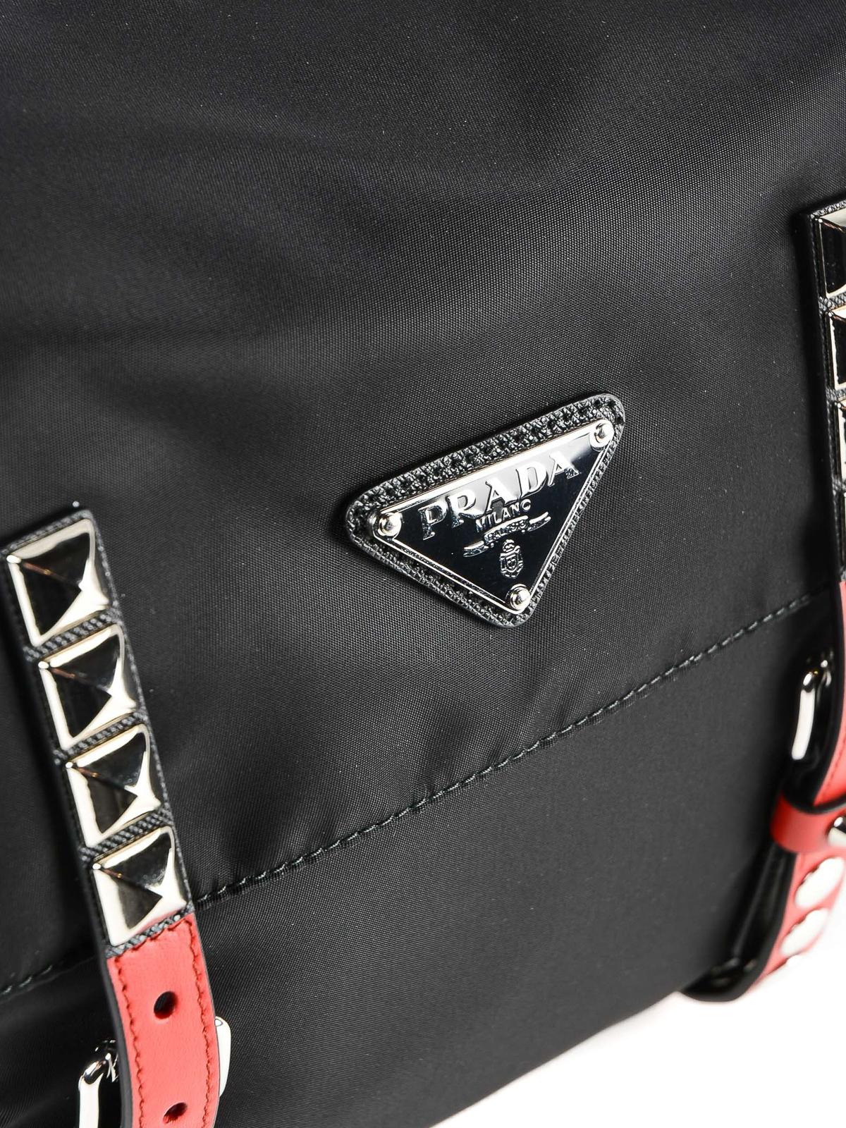 65eefb82c76b Prada - Nylon studded messenger bag - shoulder bags - 1BD1182BYBVOBO D9A