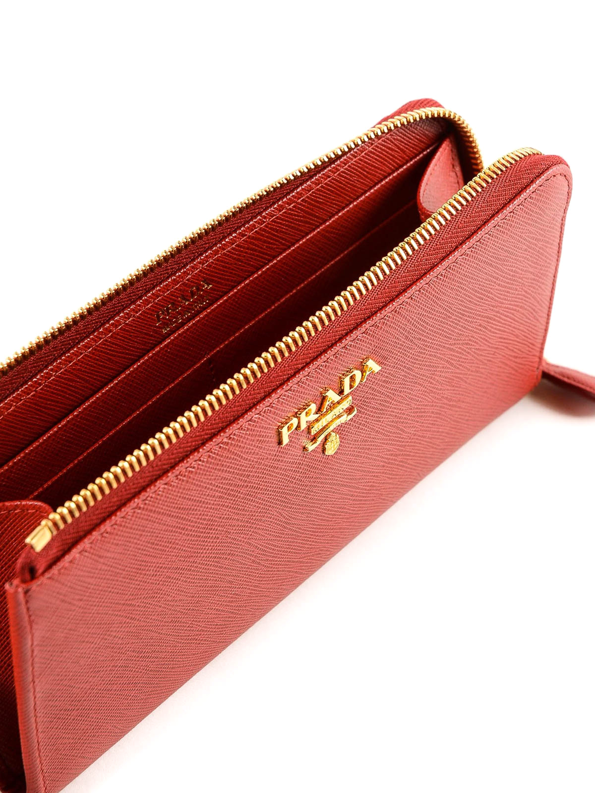 7ffc090bbb1d PRADA buy online Red saffiano leather continental cardholder. PRADA: wallets  & purses ...