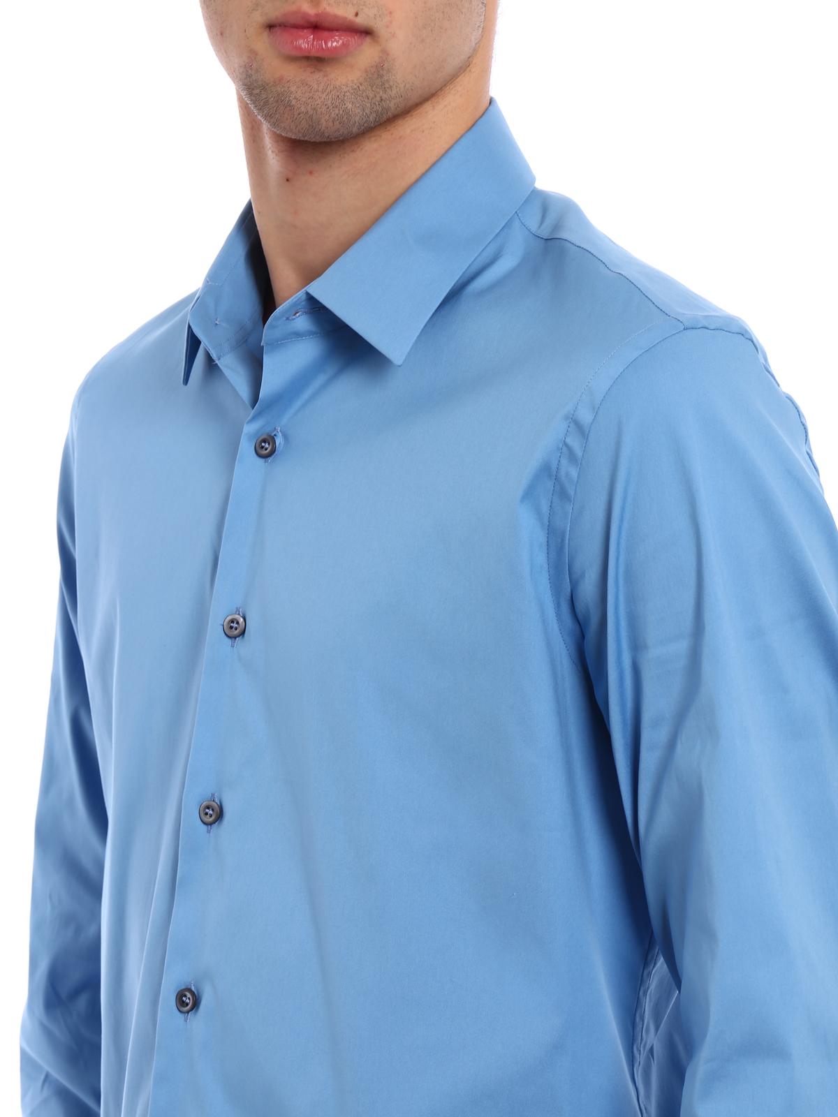 8484c6d577 Prada - Stretch poplin light blue shirt - shirts - UCM608 F62 F0076