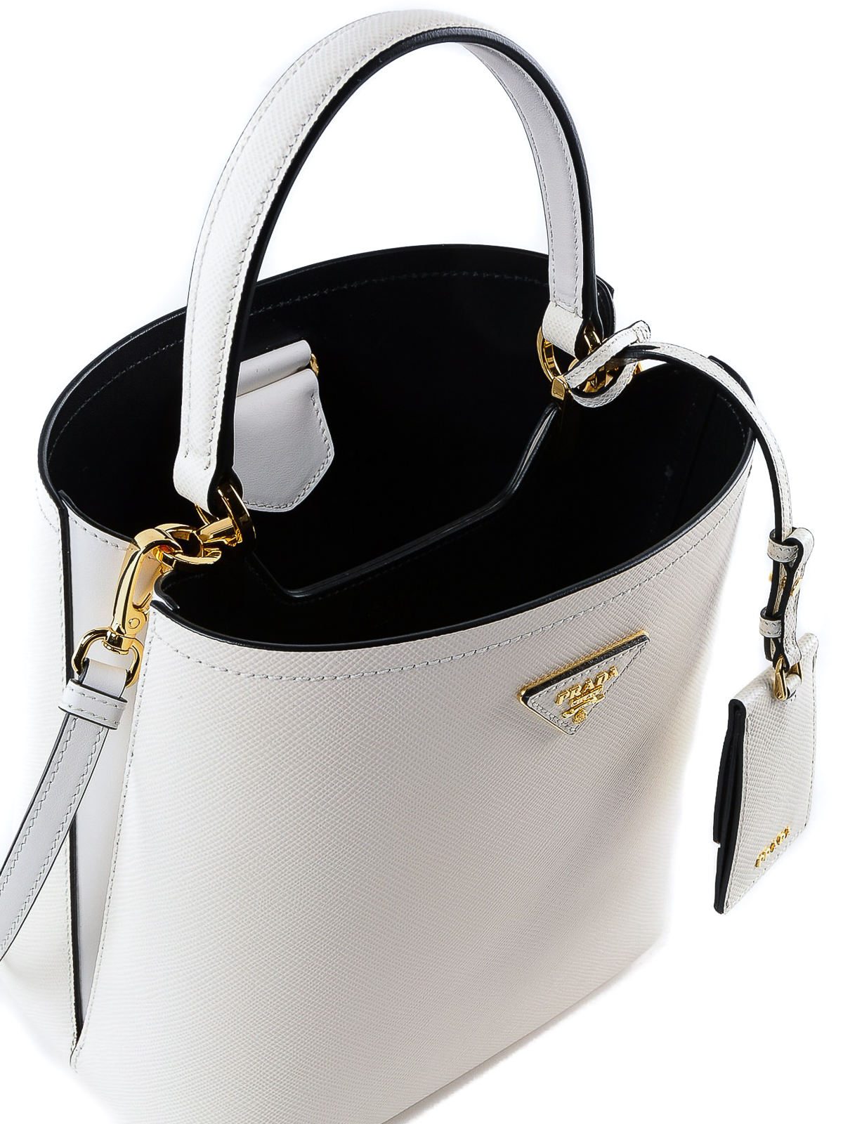 64c7674923d9 Prada - White Saffiano leather double bucket bag - Bucket bags ...