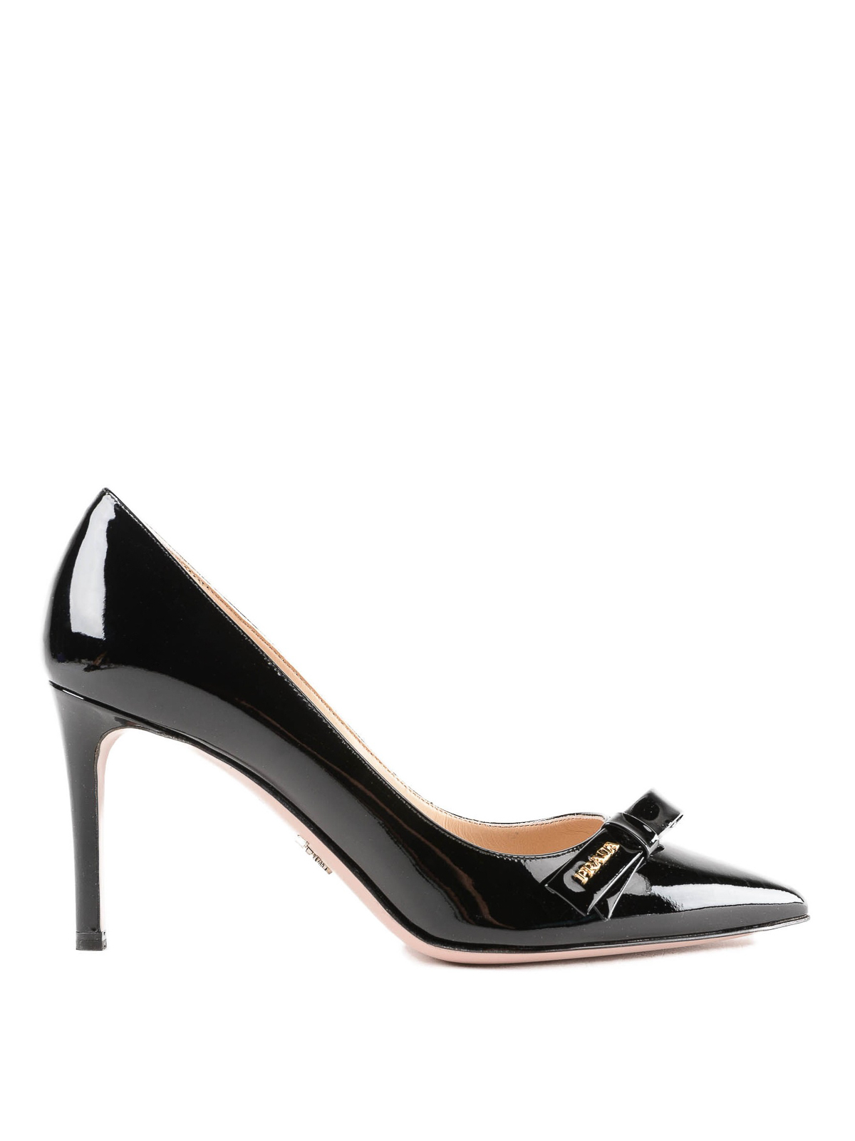 a6105d8c3e0 Prada - Black patent leather pointy pumps with bow - court shoes ...