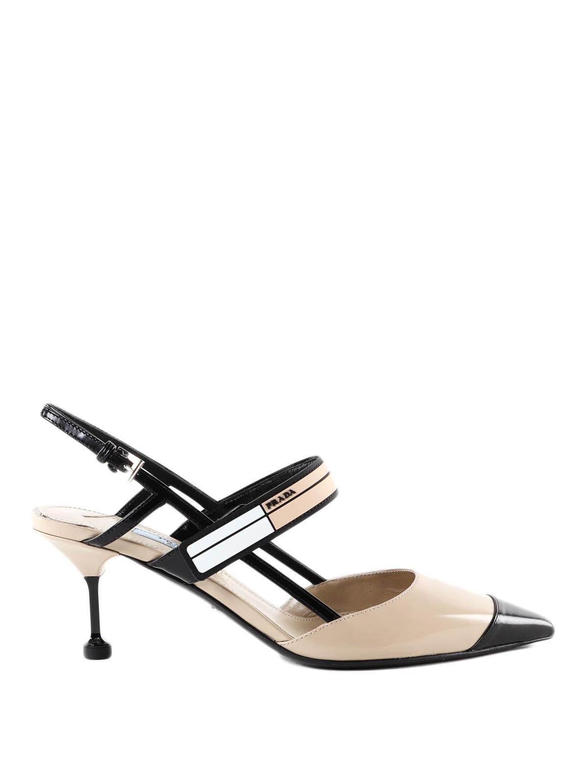 8ab52297d033 Prada - Modern two-tone leather slingbacks - court shoes - 1I296IAZ3 MJV