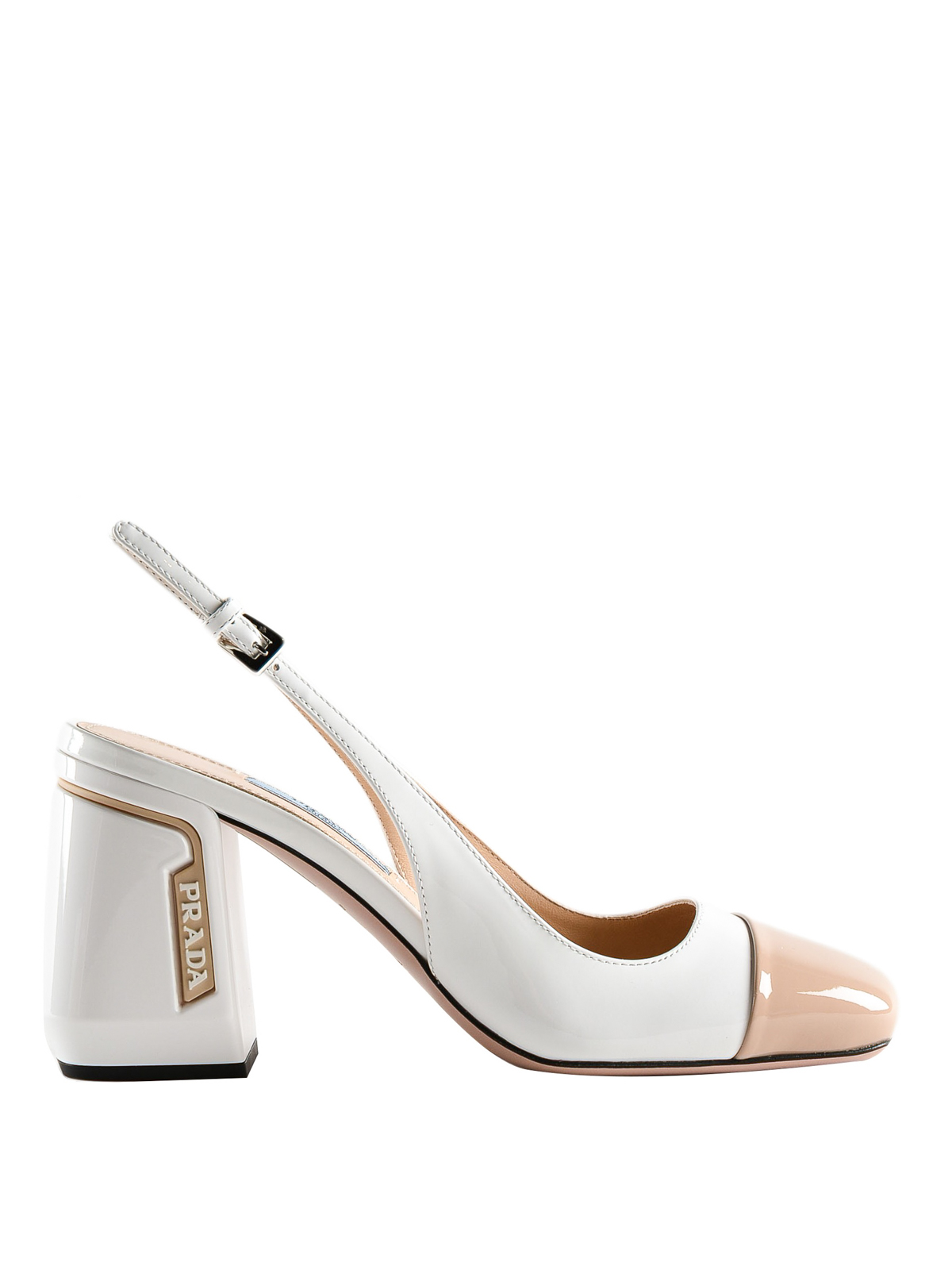 3c43edffda97 Prada - Patent leather two-tone slingback pump - court shoes ...
