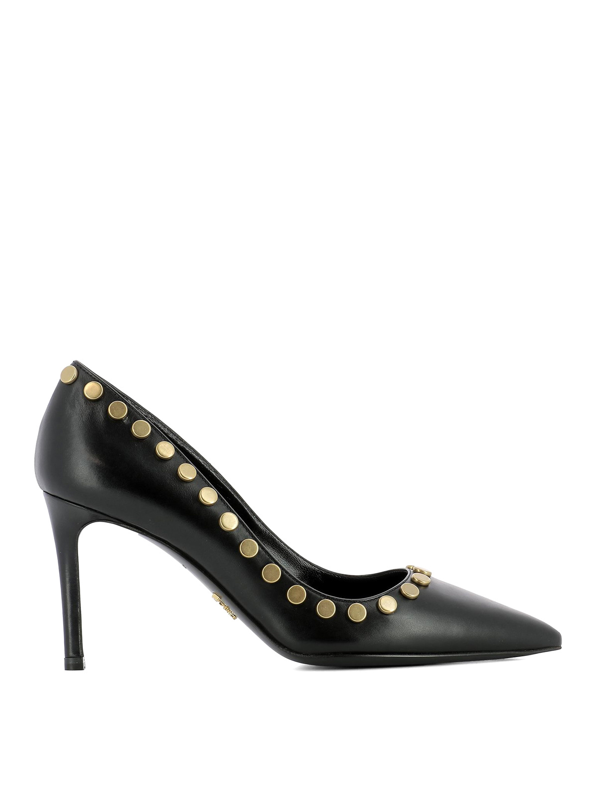 stud detailed pointy leather pumps by prada court shoes