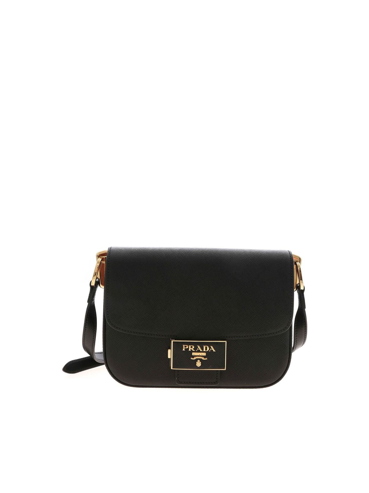 Prada SAFFIANO SHOULDER BAG IN BLACK