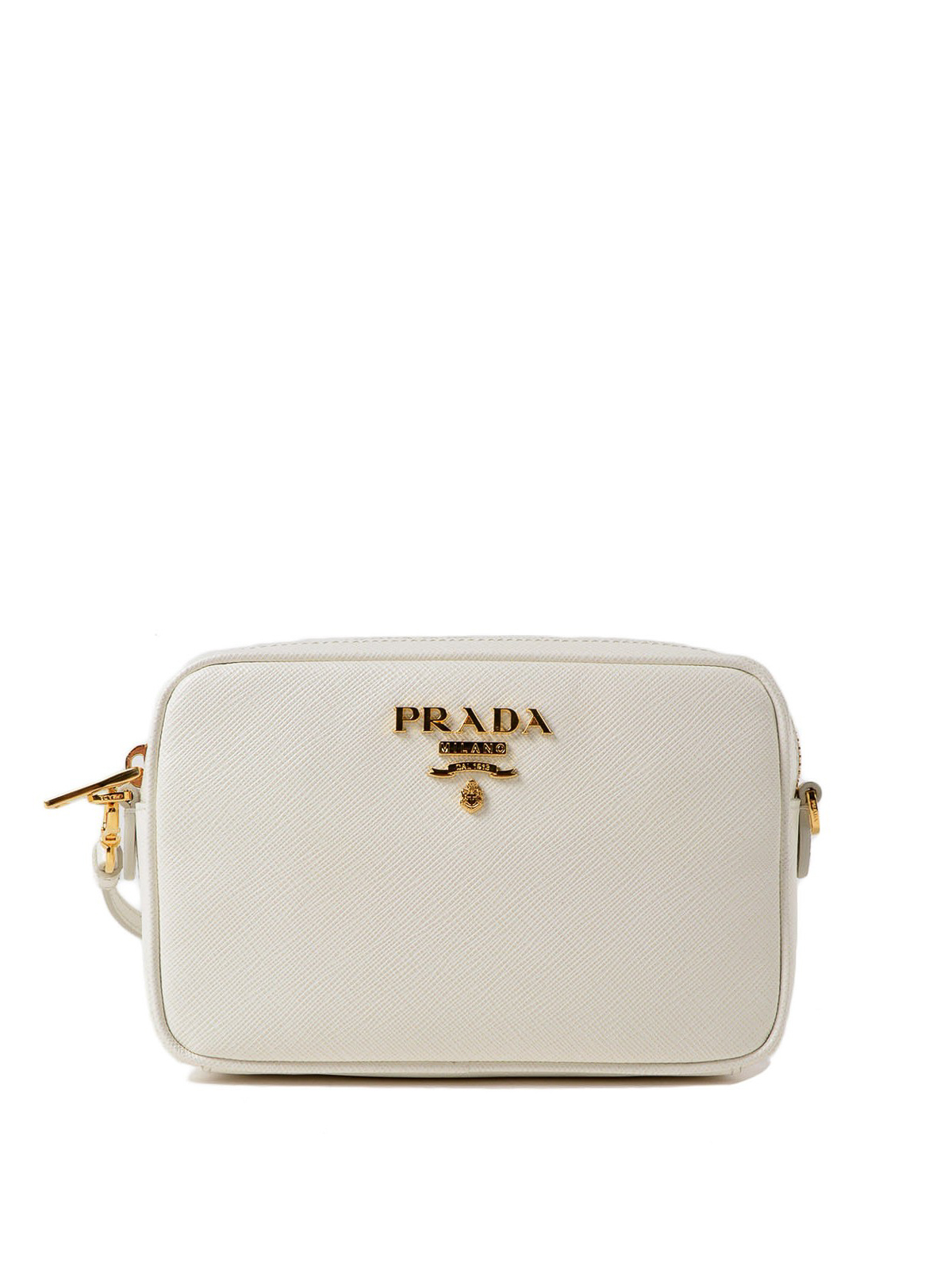 99b3cea3cebd Prada - White saffiano leather crossbody - cross body bags ...