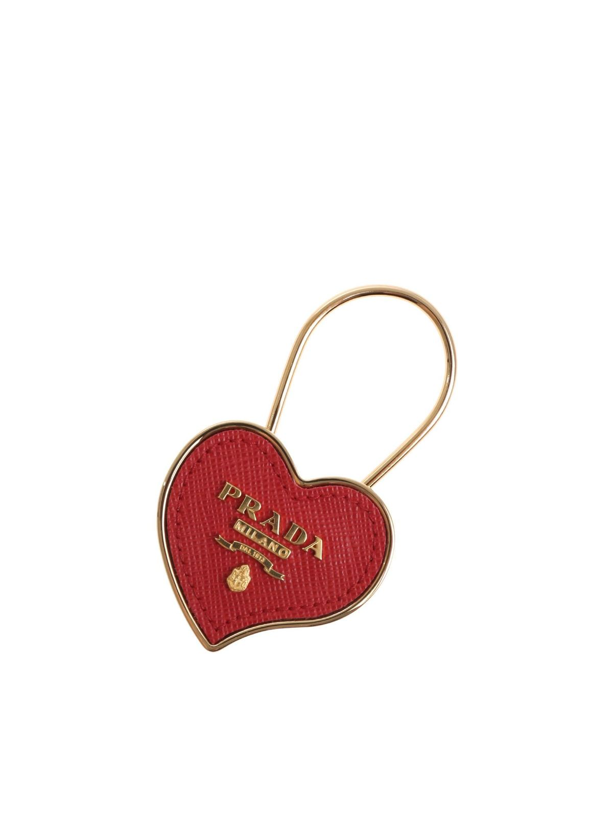 Prada RED AND GOLD HEART KEYCHAIN