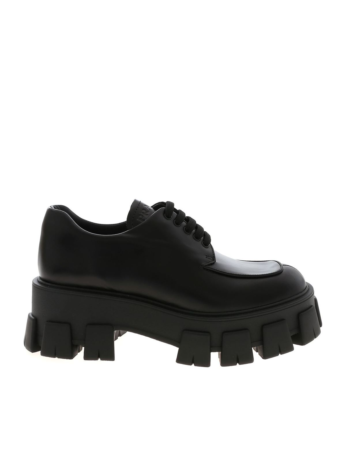Prada MONOLITH DERBY WITH WEDGE IN BLACK
