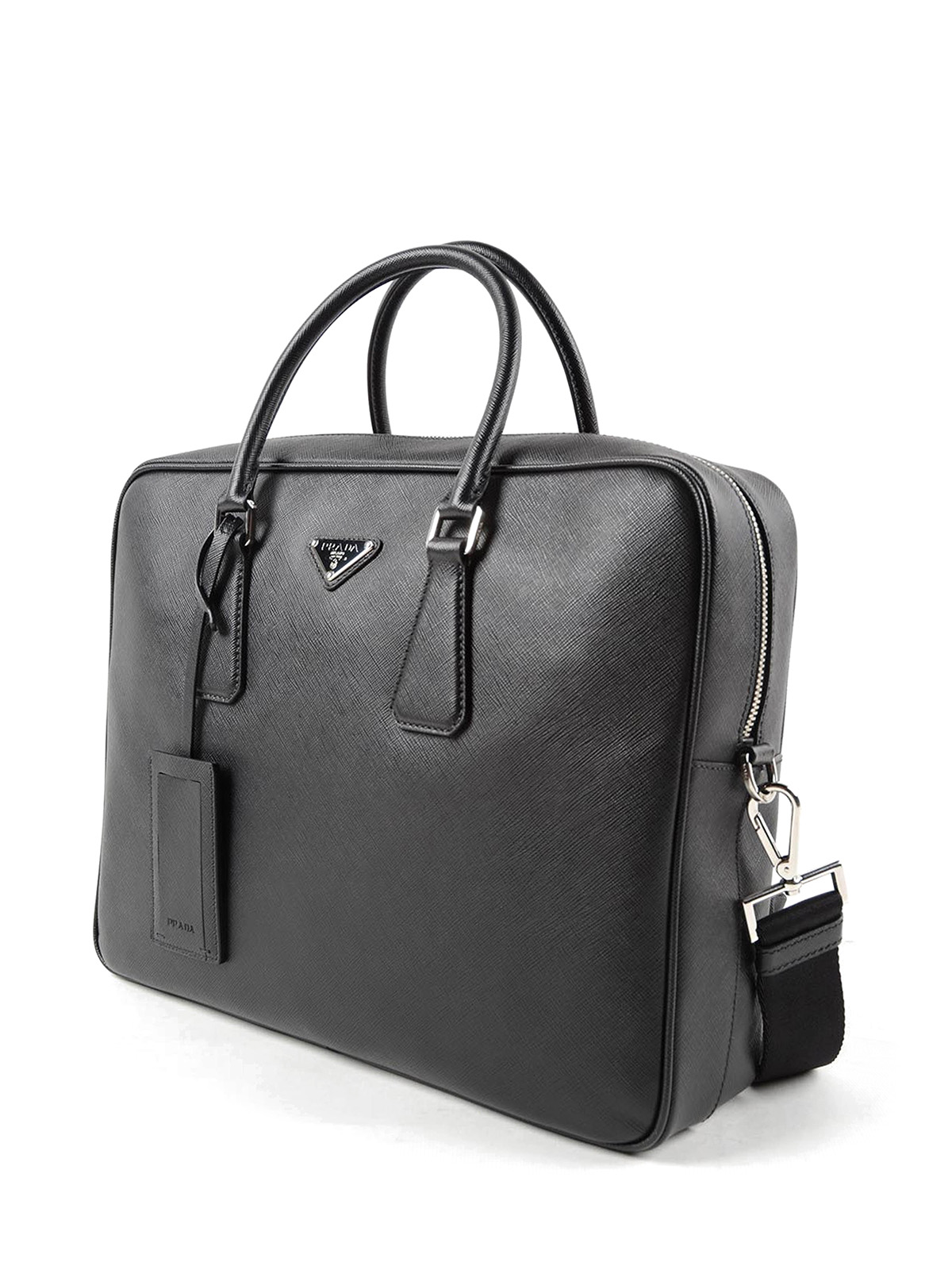 prada aktentasche tasche dokumententasche laptoptasche leder saffiano schwarz. Black Bedroom Furniture Sets. Home Design Ideas