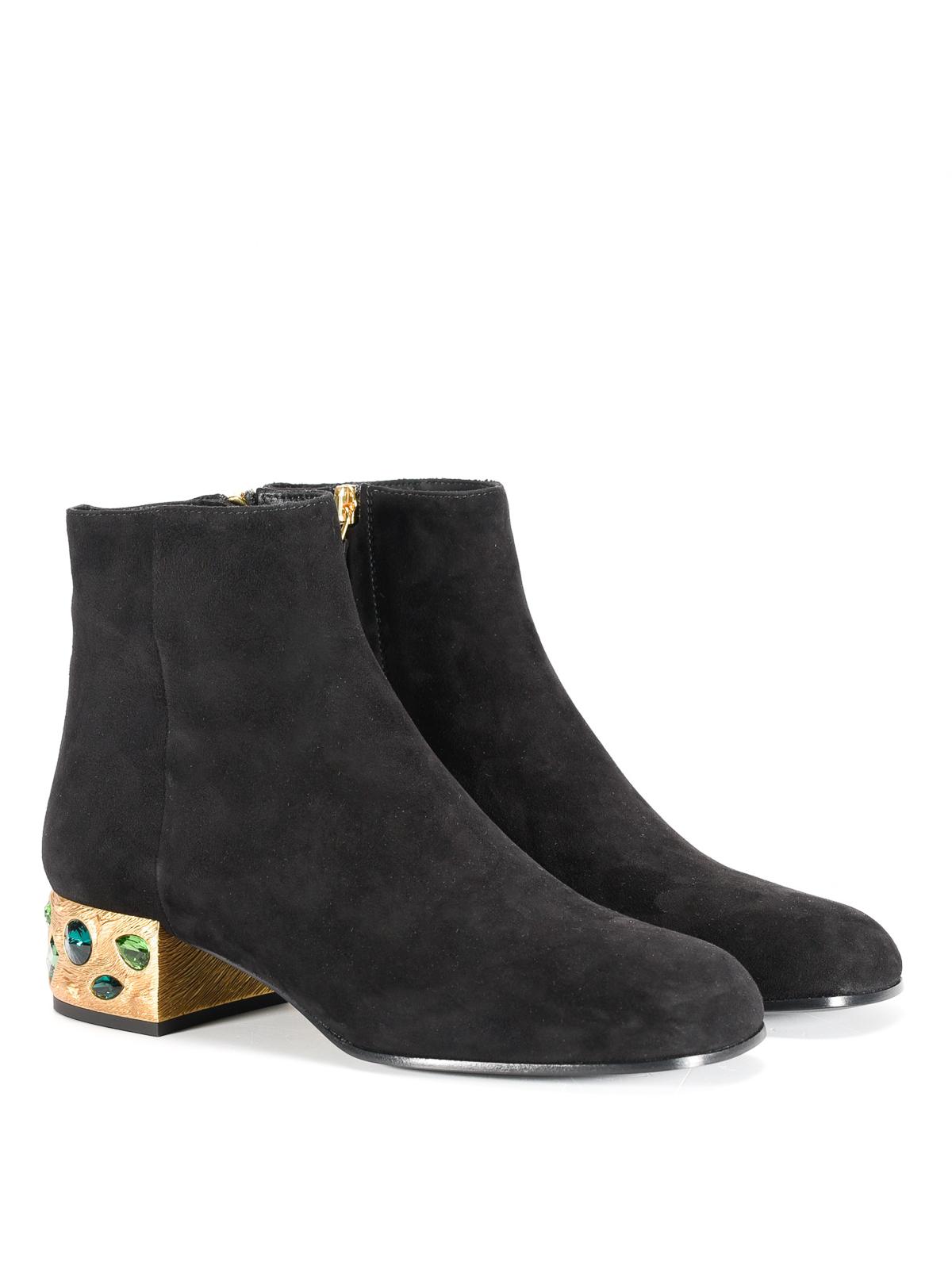 Prada - Jewel heel suede ankle boots
