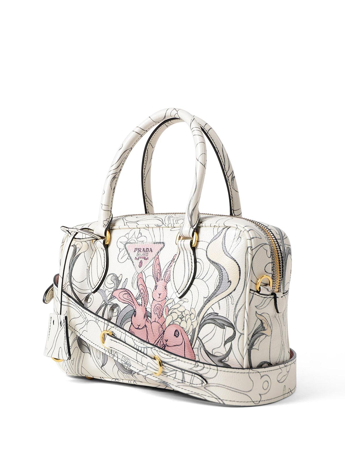 8e609f2d23cf PRADA  bowling bags online - Rabbit print leather small handbag