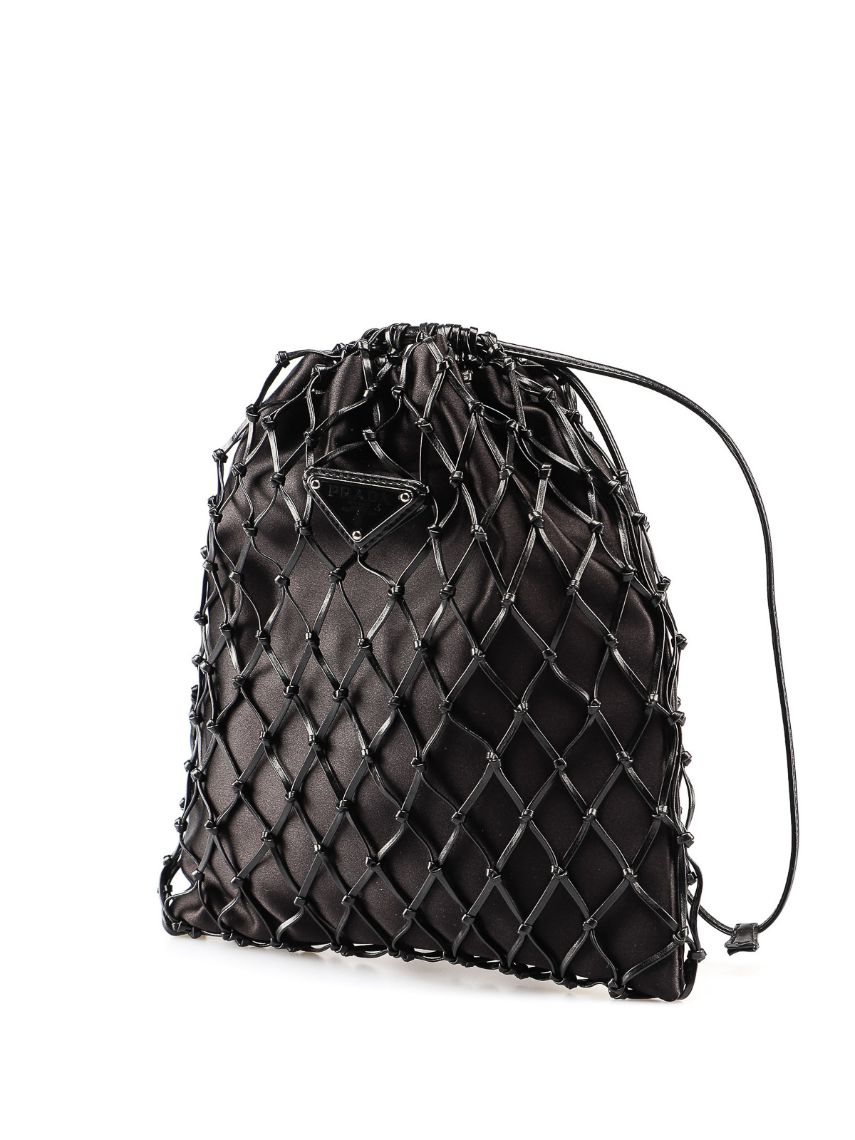 Prada - Black leather mesh and satin bag - Bucket bags - 1BC075AR2 002 4876949b6ee4d