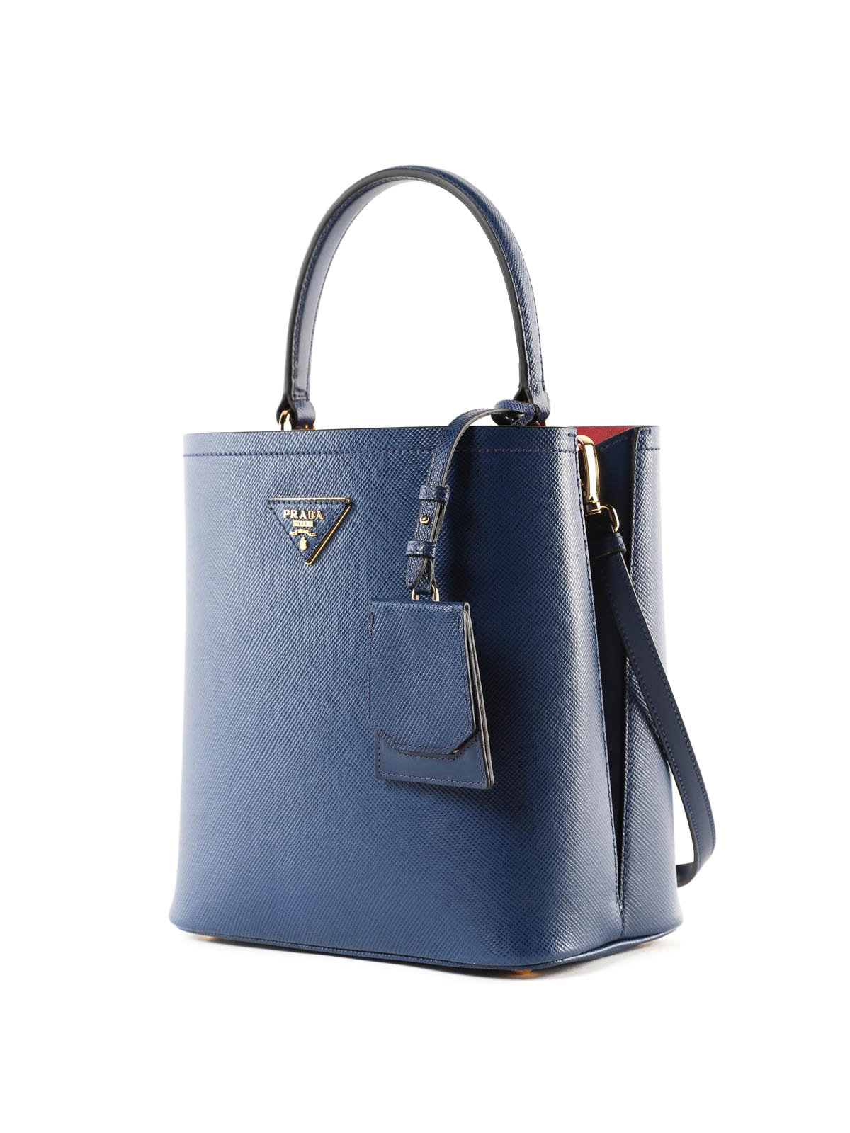 PRADA  Bucket bags online - Blue Saffiano leather double bucket bag aef62c8e8e68e