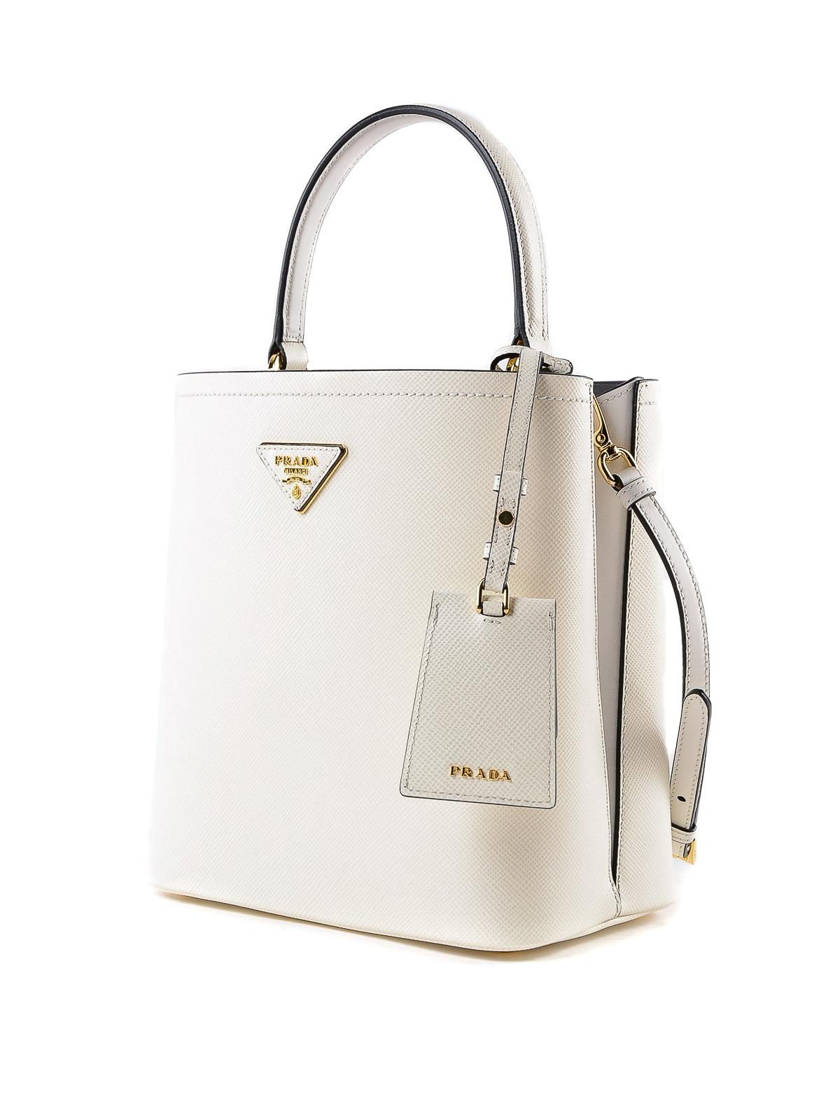 0bade0e39dde PRADA  Bucket bags online - White Saffiano leather double bucket bag