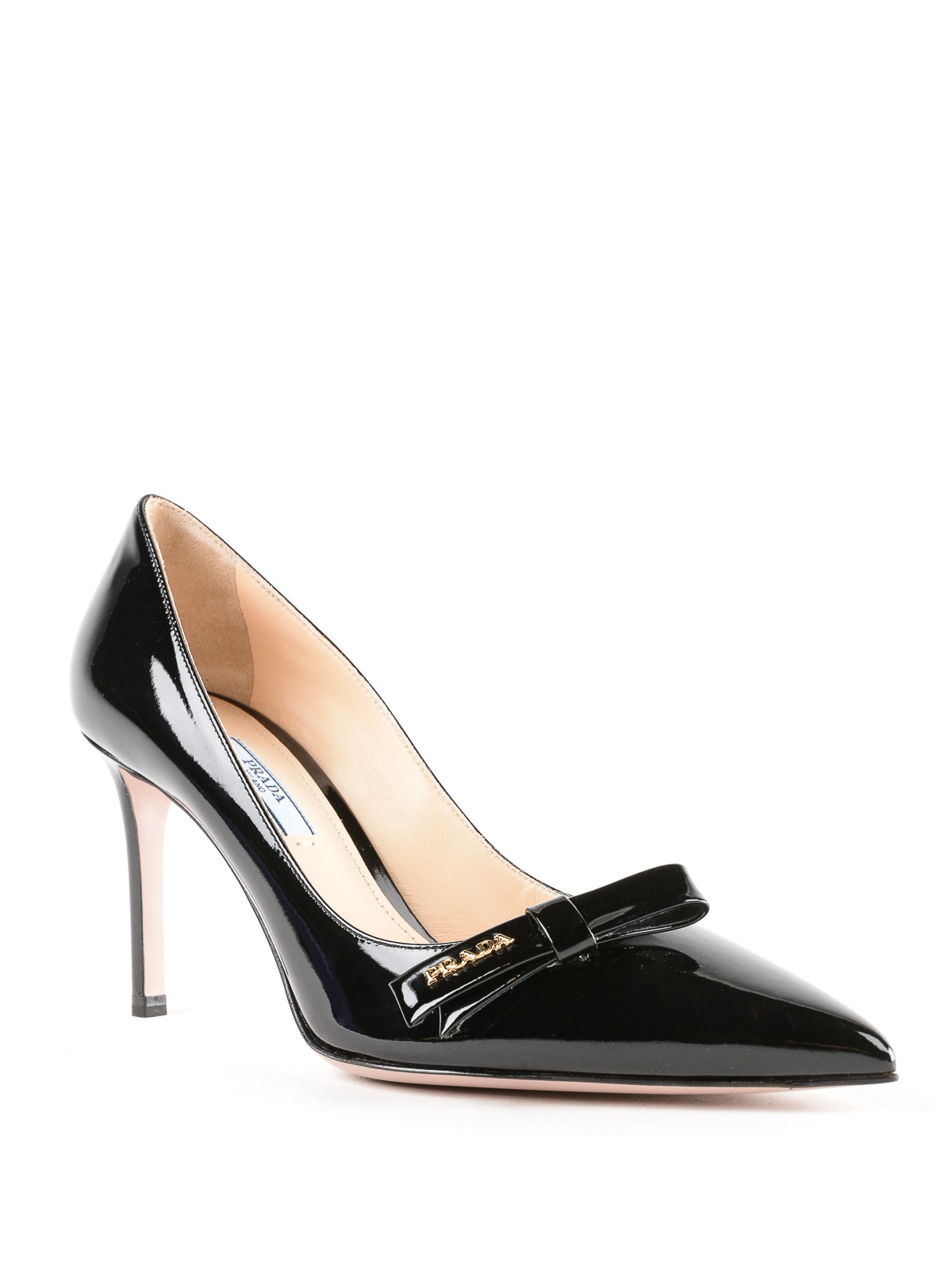 f2e2d54021b PRADA  court shoes online - Black patent leather pointy pumps with bow