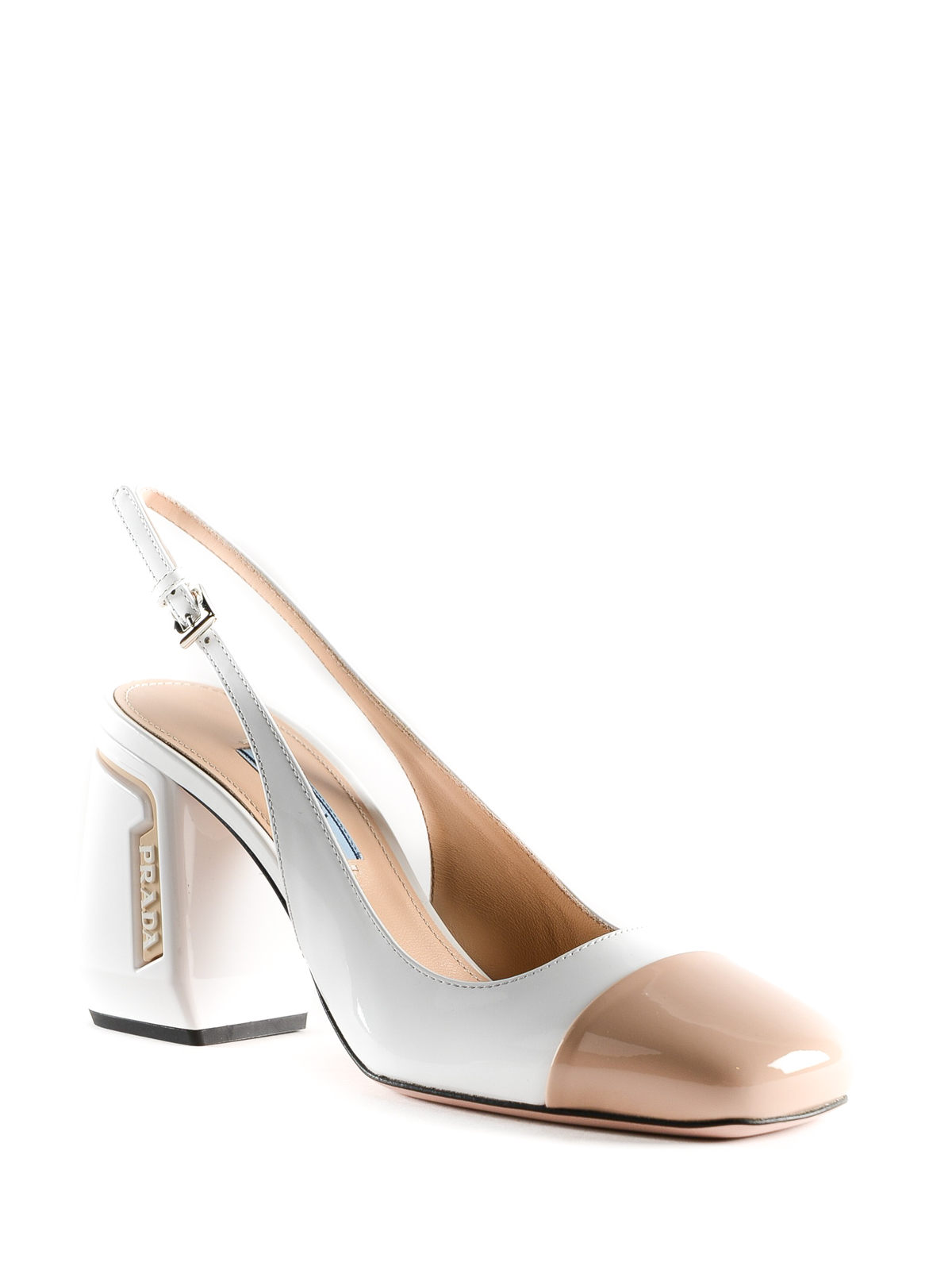 c95d4be27 PRADA: court shoes online - Patent leather two-tone slingback pump