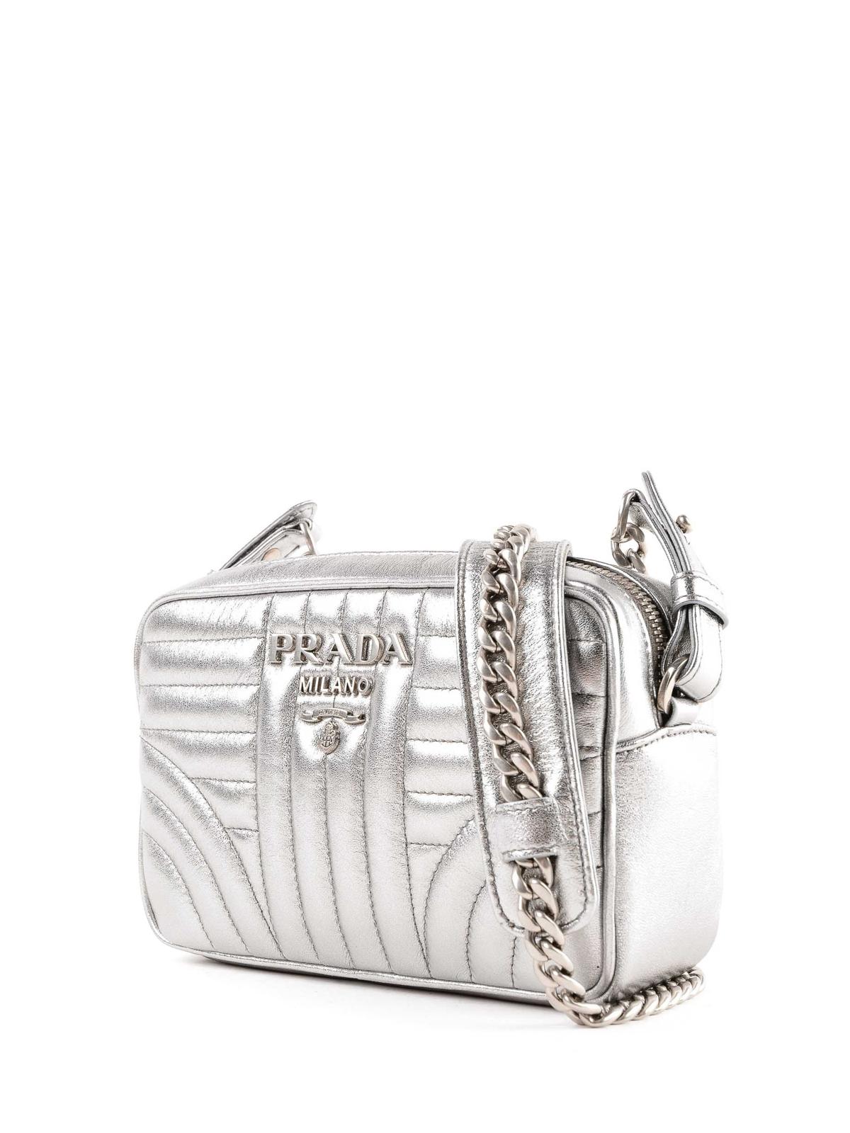 e77e14b6bfa0 PRADA: cross body bags online - Diagramme silver soft camera bag