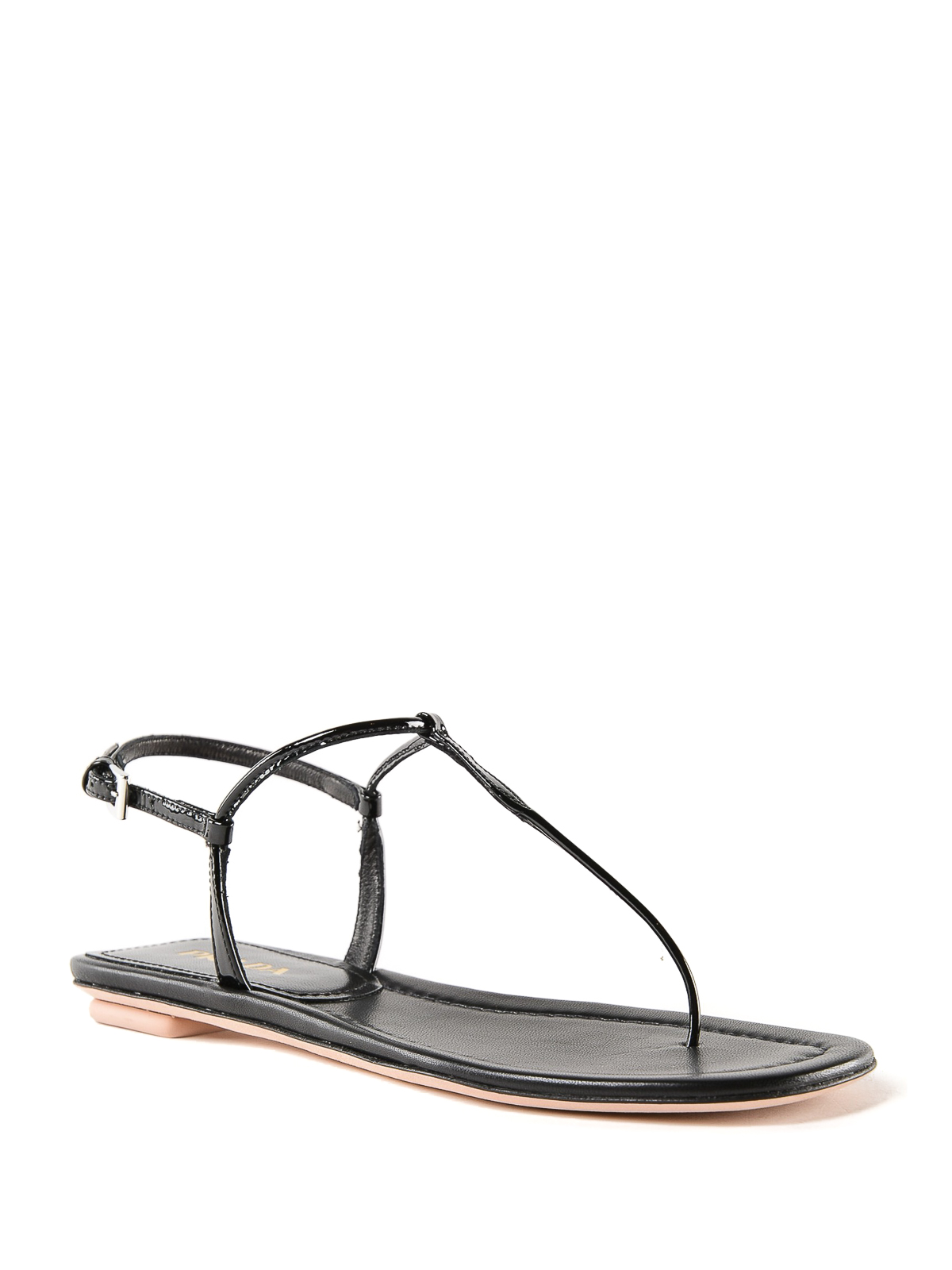 0cd4e256e Prada - Patent leather flat thong sandals - flip flops - 1Y558B069 002
