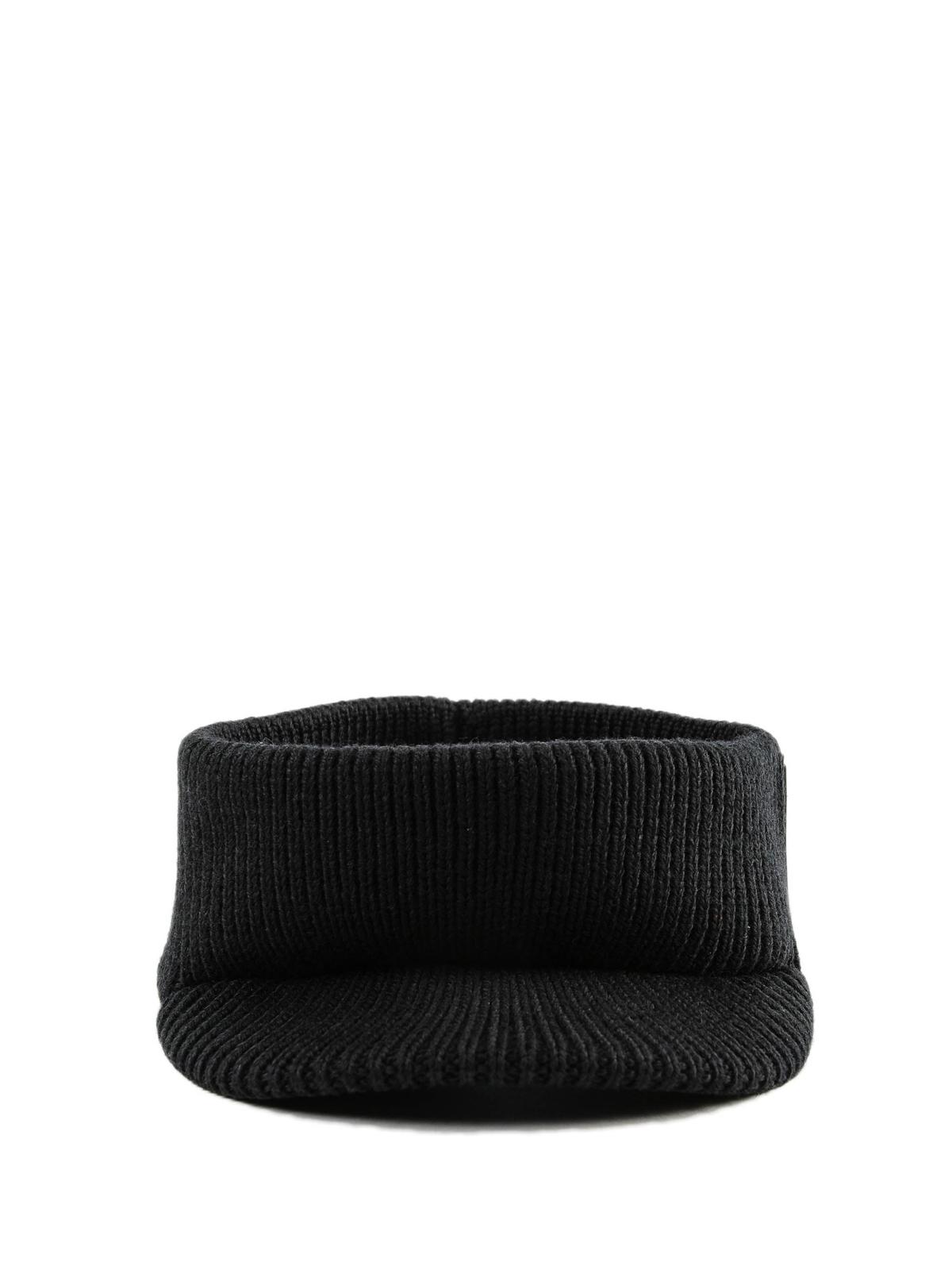 44e7b3a32d2 PRADA  hats   caps online - Wool headband with visor and rubber logo