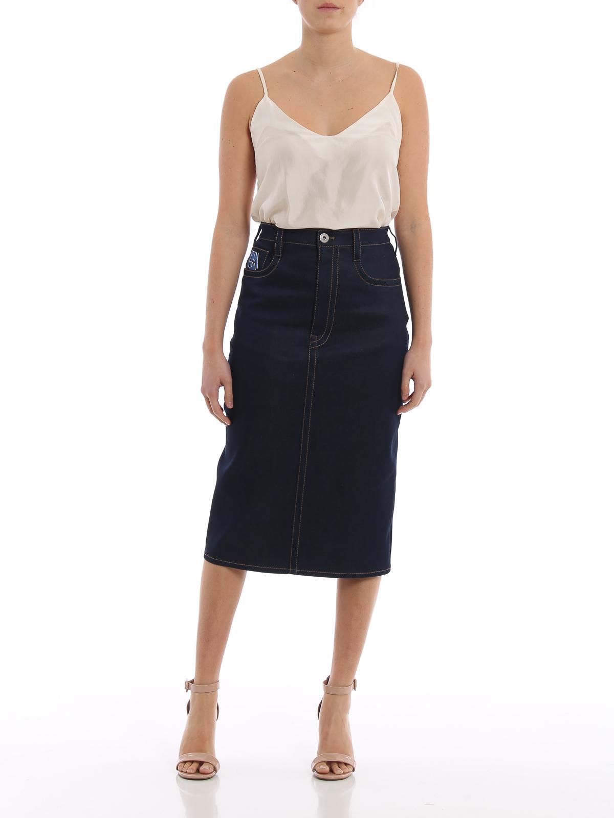 97a155ebb PRADA: Knee length skirts & Midi online - Stretch denim pencil skirt