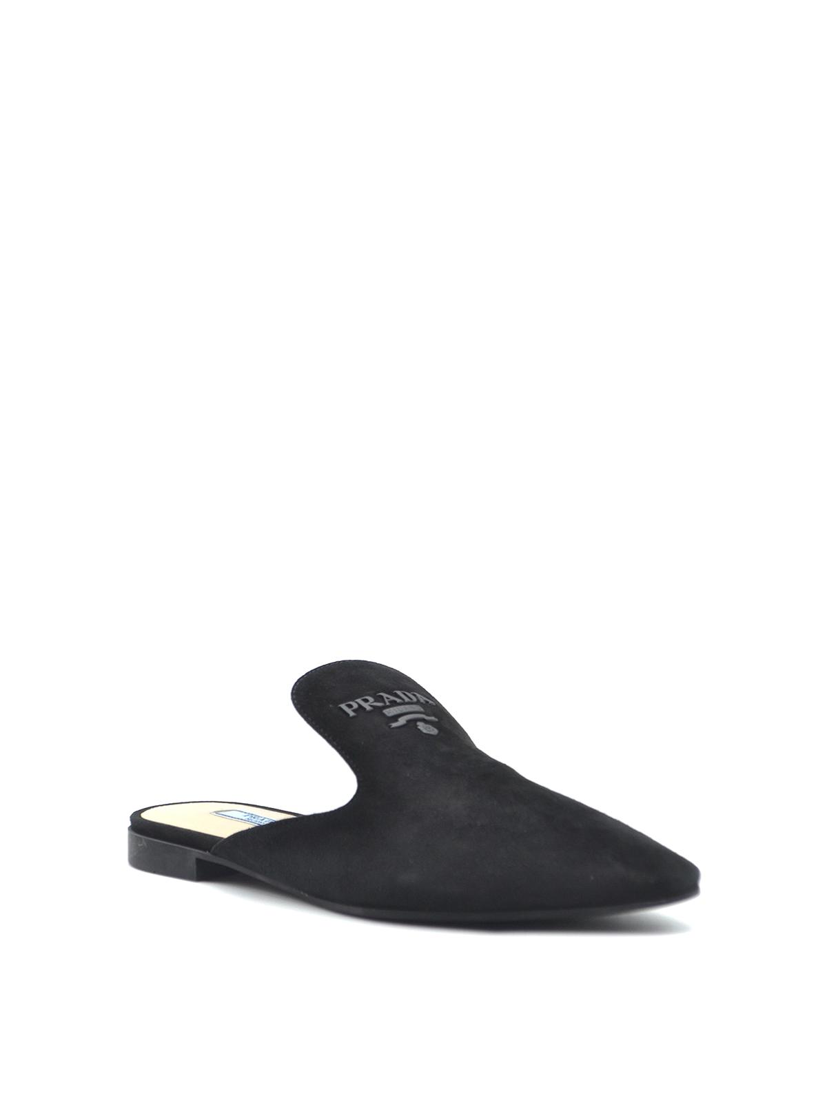Prada - Black suede mules - صندل میول
