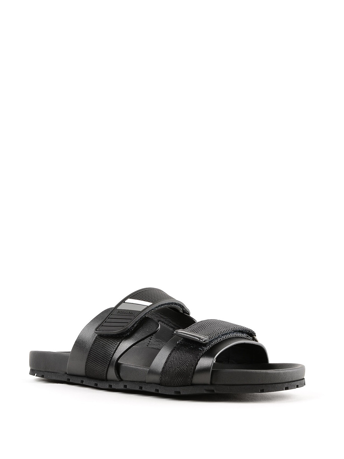 Leather sandals with Velcro straps