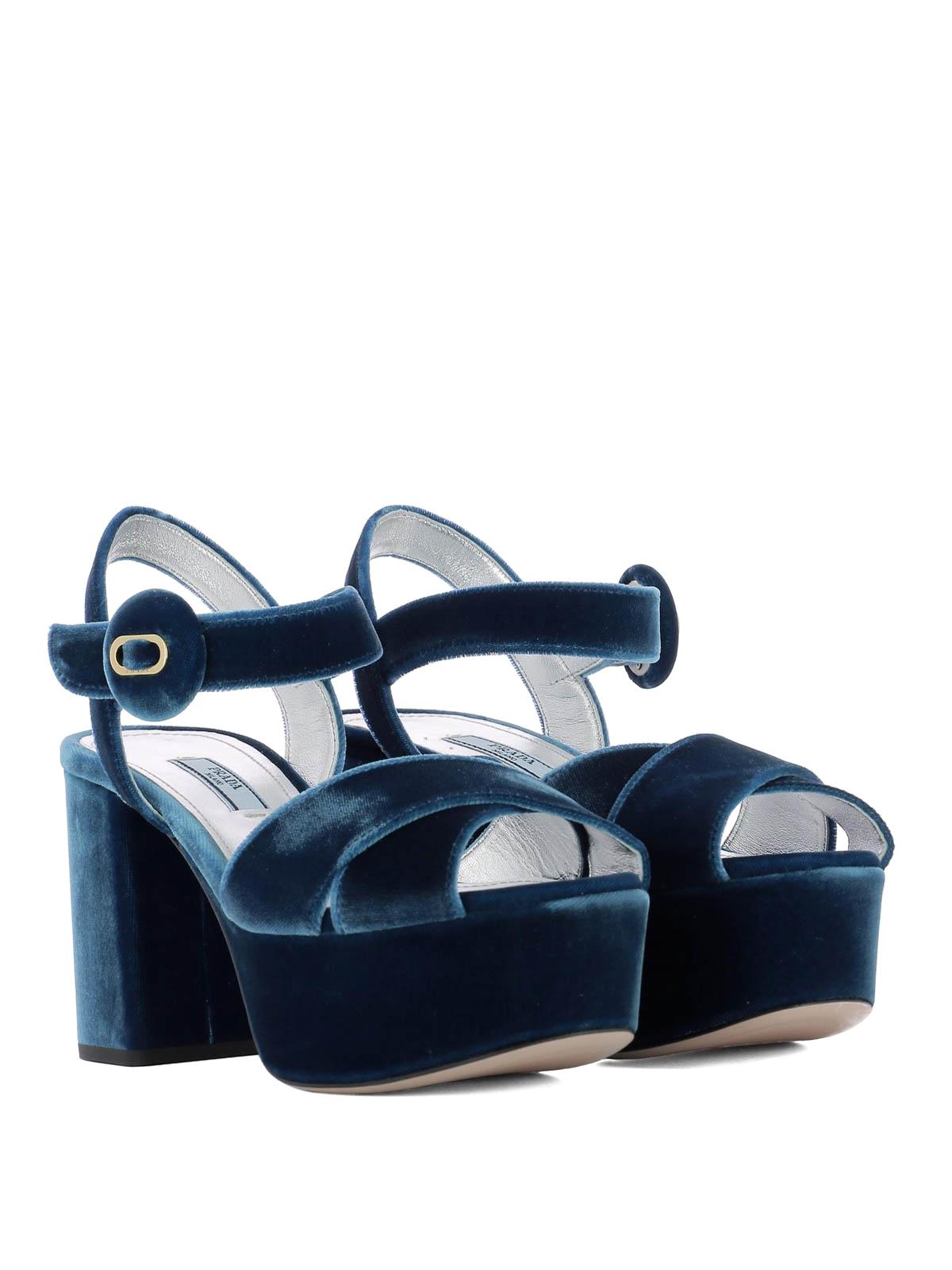 Light blue velvet platform sandals