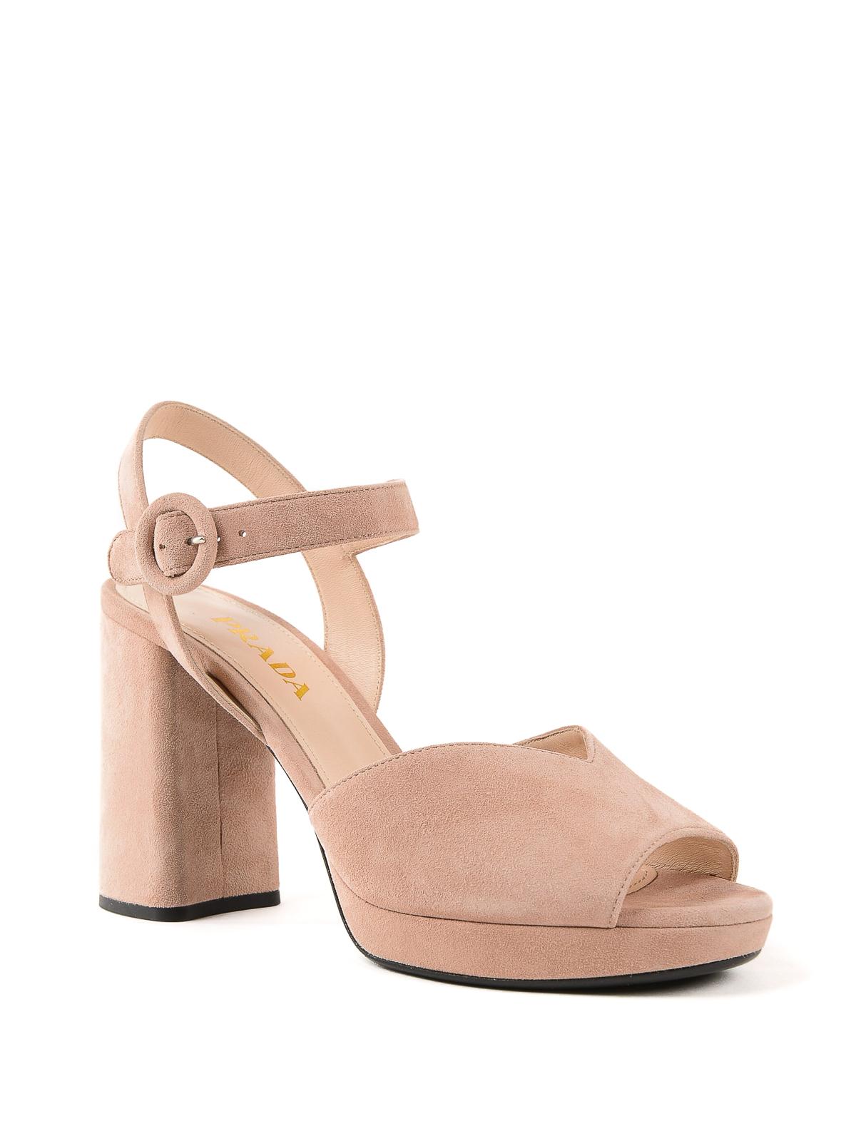 e3d6b453820 Prada - Light pink suede platform sandals - sandals - 1XP36A008 A48