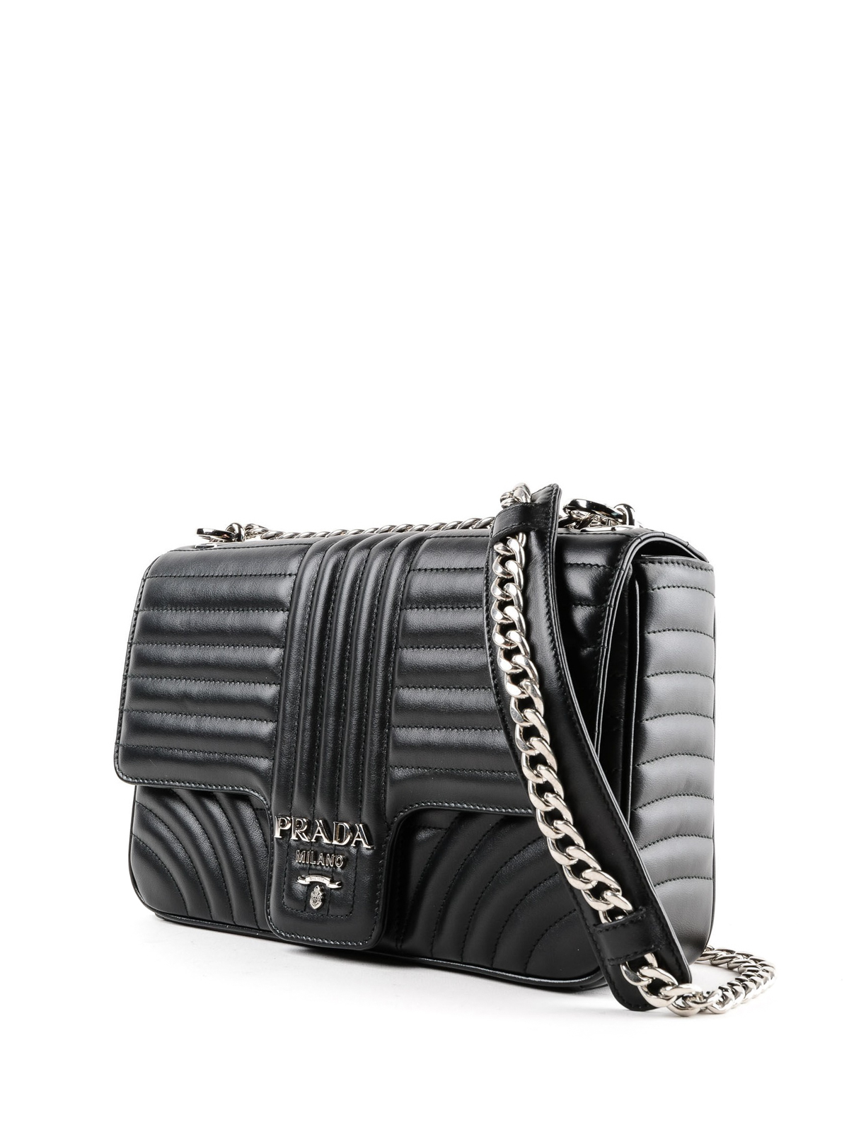 195df8ec6a3fdf PRADA: shoulder bags online - Diagramme black leather shoulder bag
