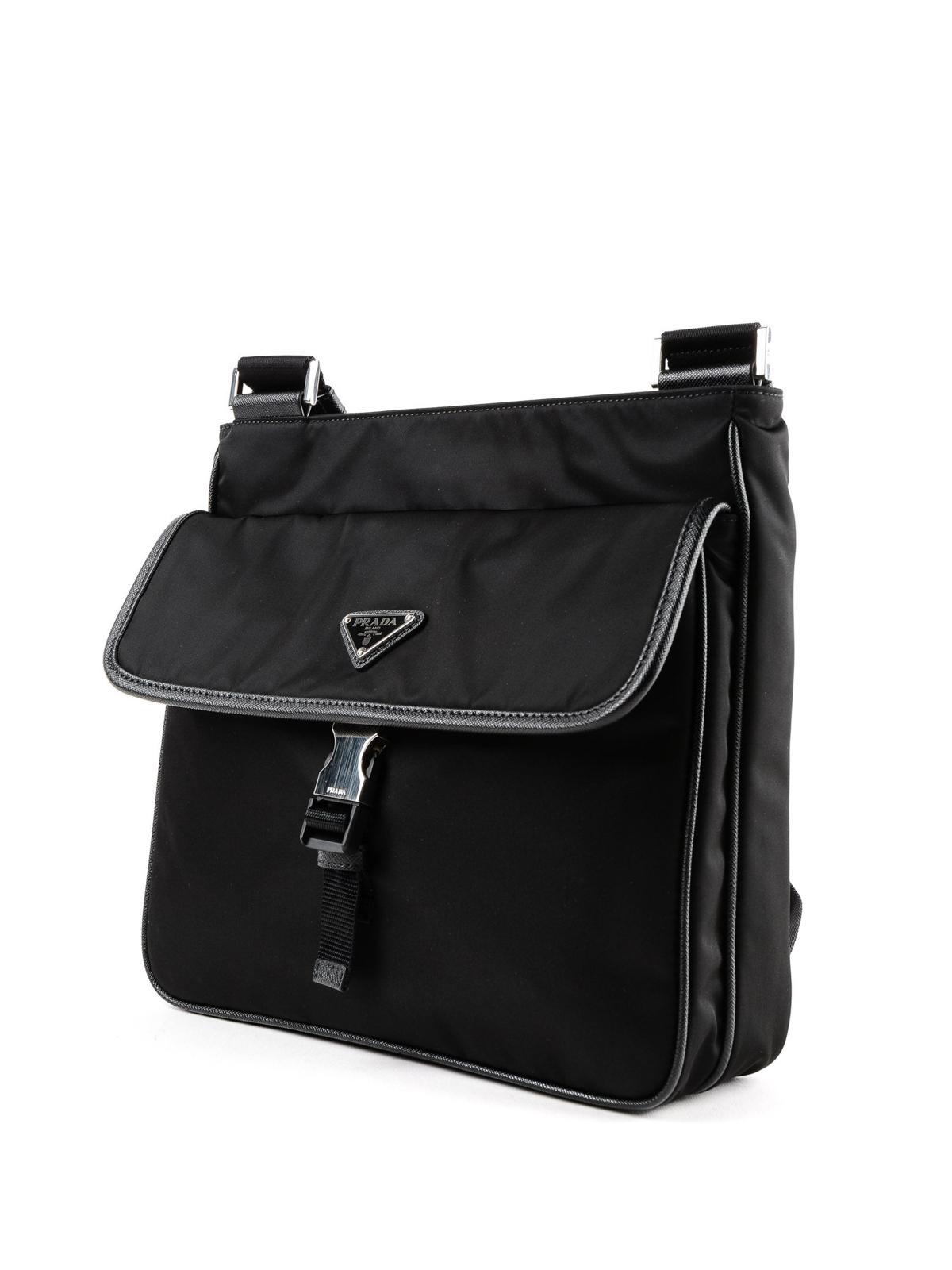 55f3b8c39c52 PRADA: shoulder bags online - Saffiano detailed black nylon messenger bag