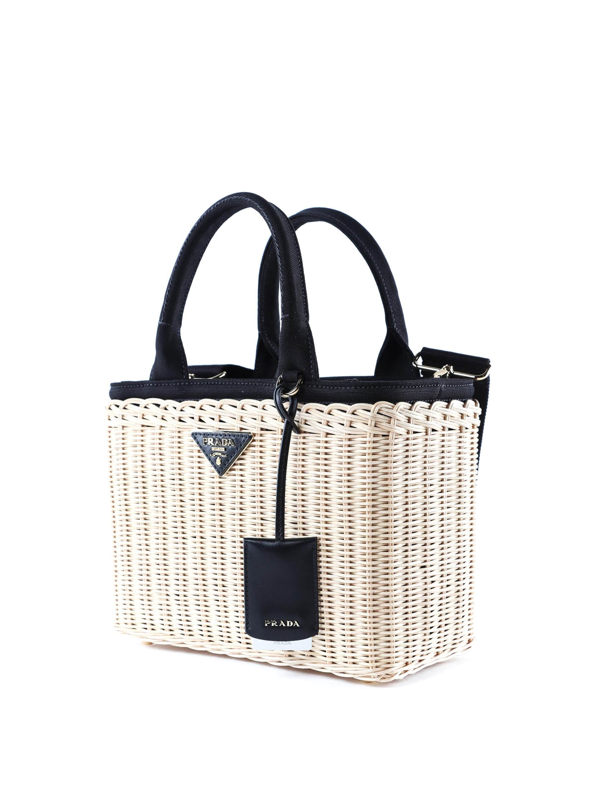 89ef05b18356 PRADA  totes bags online - Midollino wicker and canvas tote bag