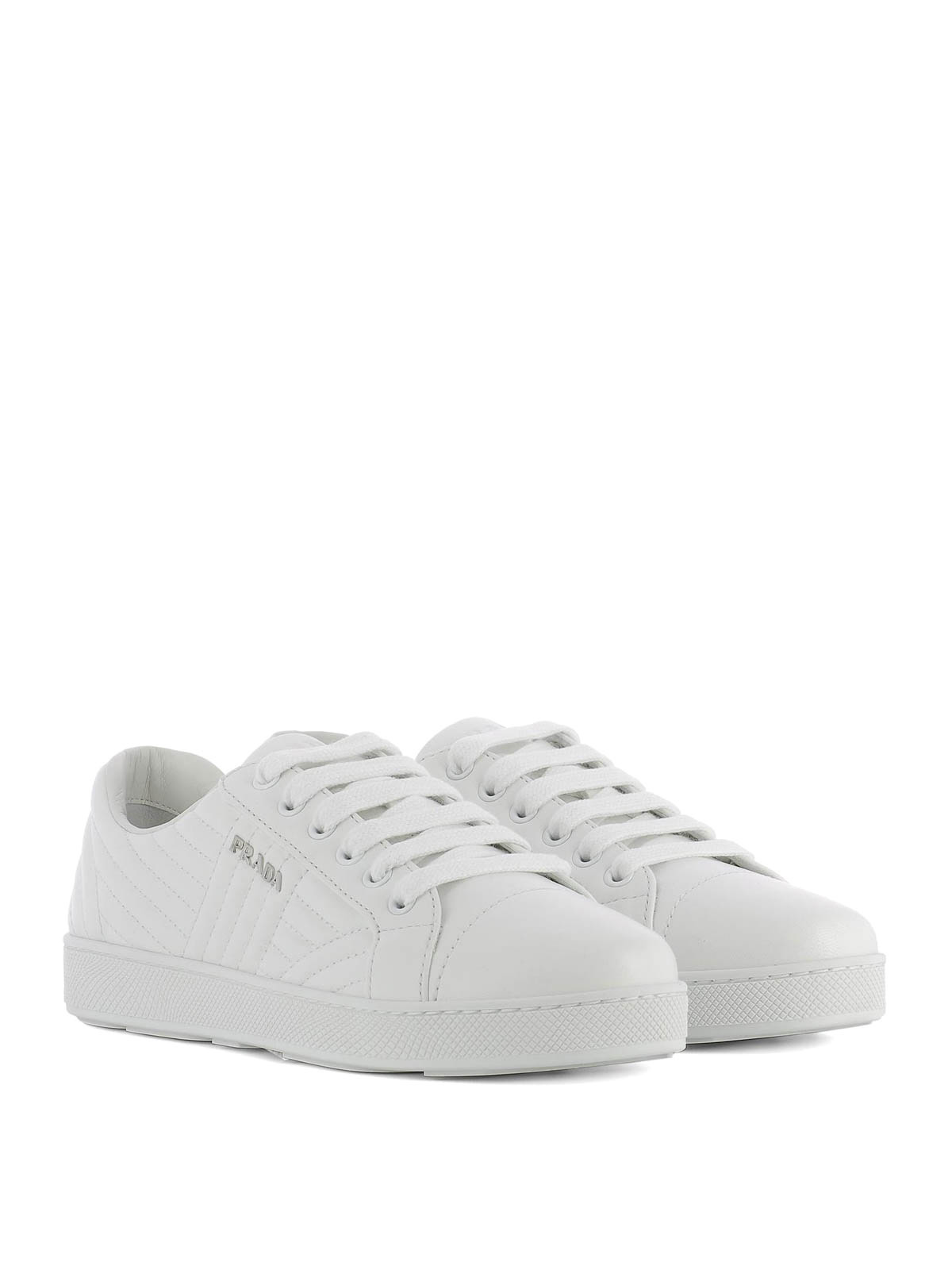 Prada - Quilted leather white sneakers