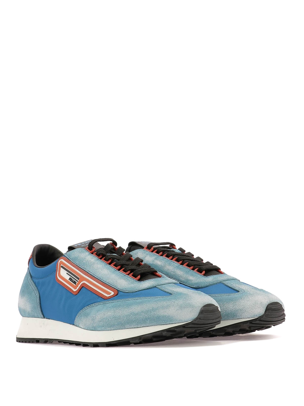 624bc50d1e Prada - Sky blue fabric and used suede sneakers - trainers ...
