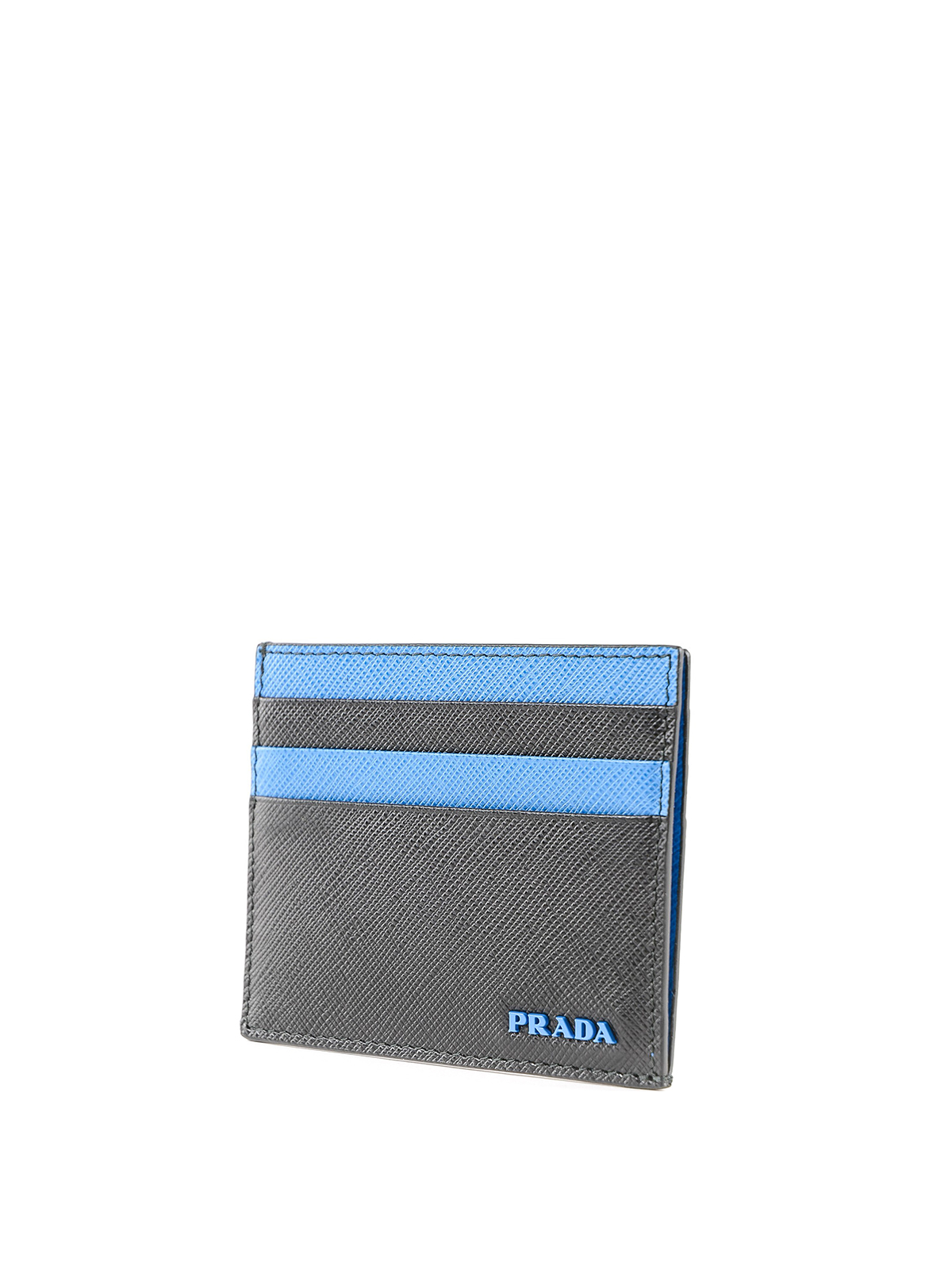 f51b50d11536 PRADA: wallets & purses online - Black and blue Saffiano leather card holder