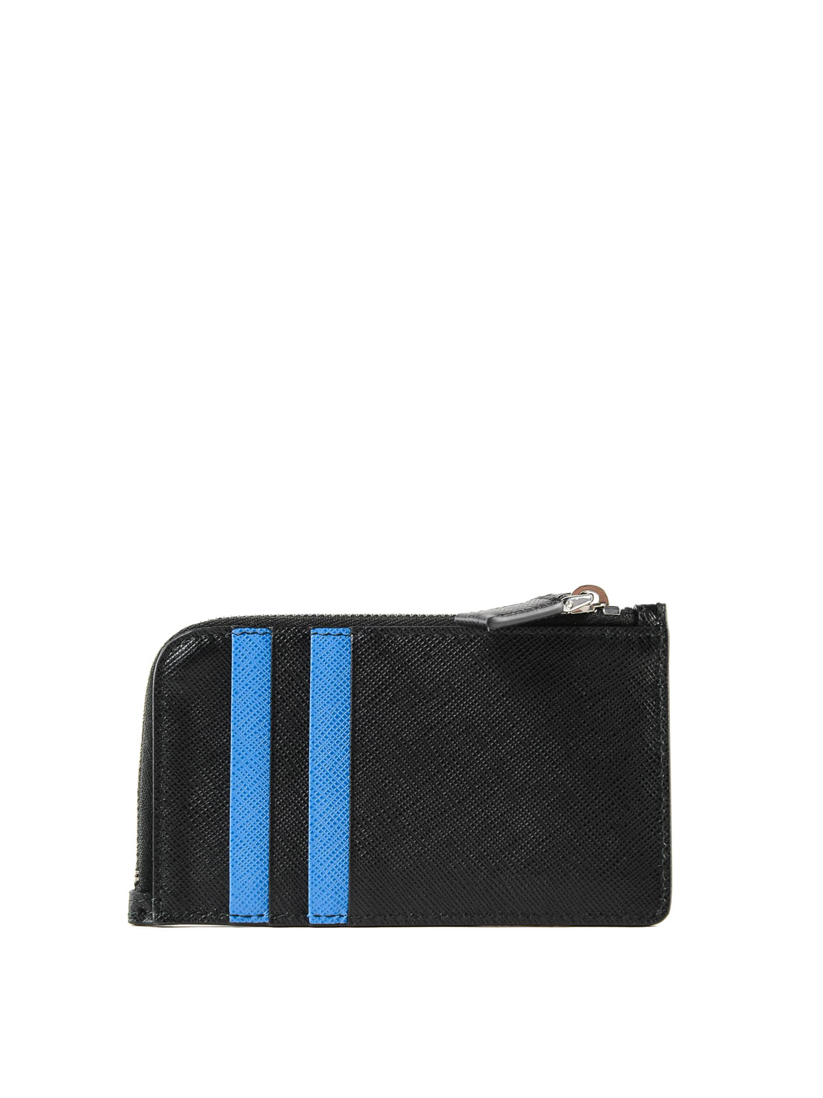 e893f14db991 PRADA: wallets & purses online - Black and blue saffiano leather card holder