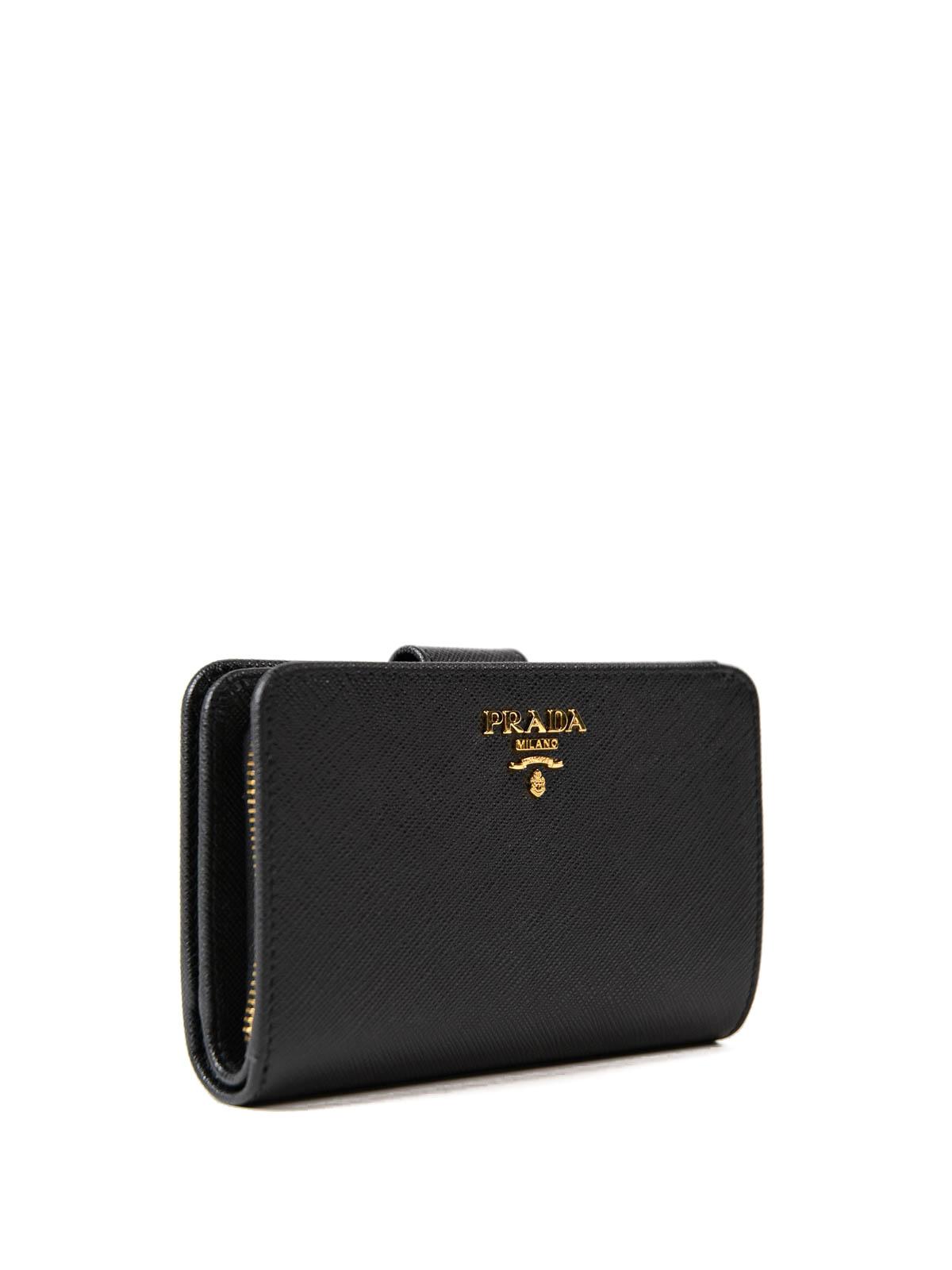 155c0c0640e7 PRADA  wallets   purses online - Black saffiano leather French wallet
