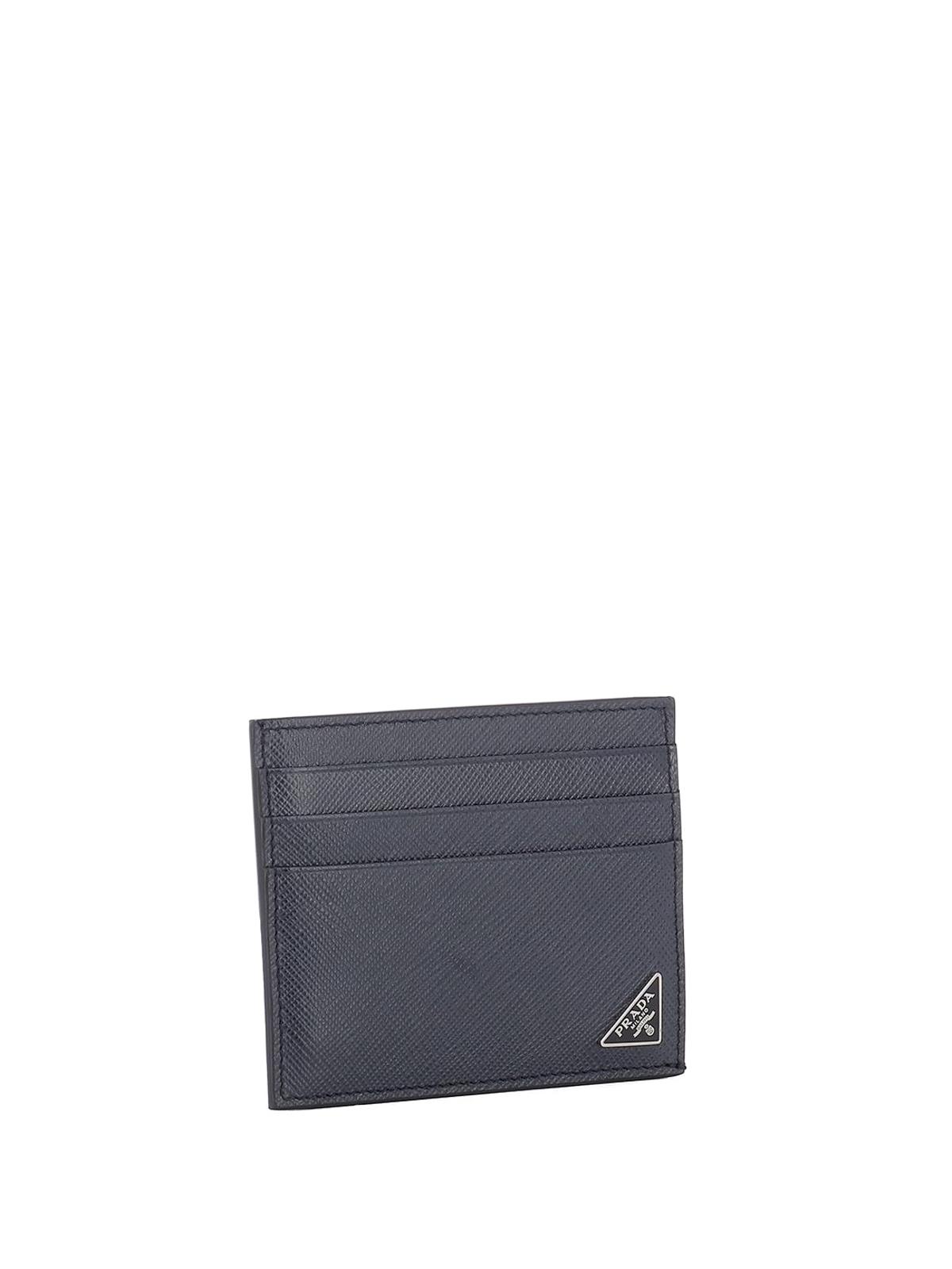 9c81b19c0fe1 PRADA: wallets & purses online - Blue saffiano leather card holder