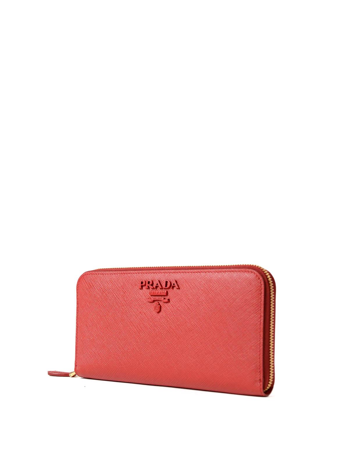 7e6d6e10ccd PRADA  wallets   purses online - Red saffiano zip-around wallet