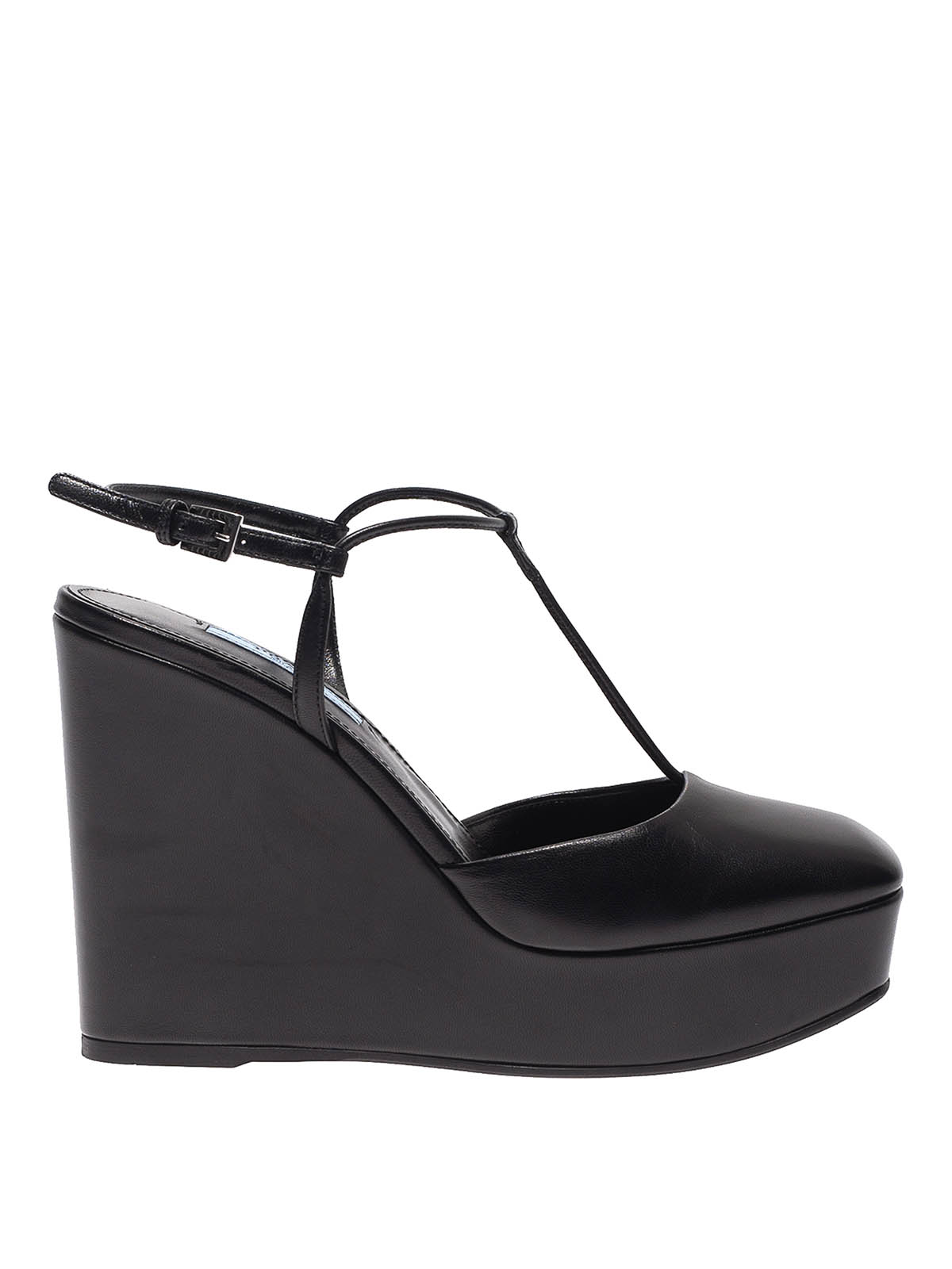 Prada T-strap Wedges In Black Leather