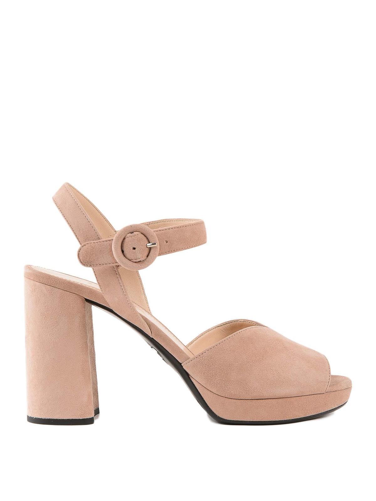 Light pink suede platform sandals