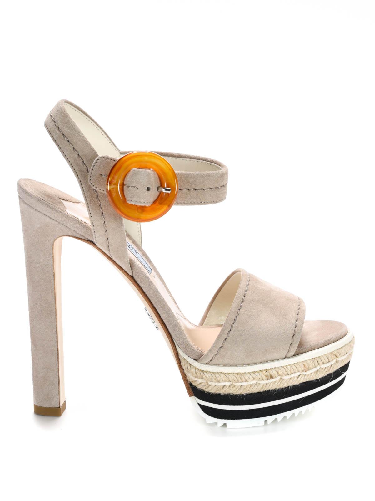 Suede platform sandals by Prada - sandals | iKRIX