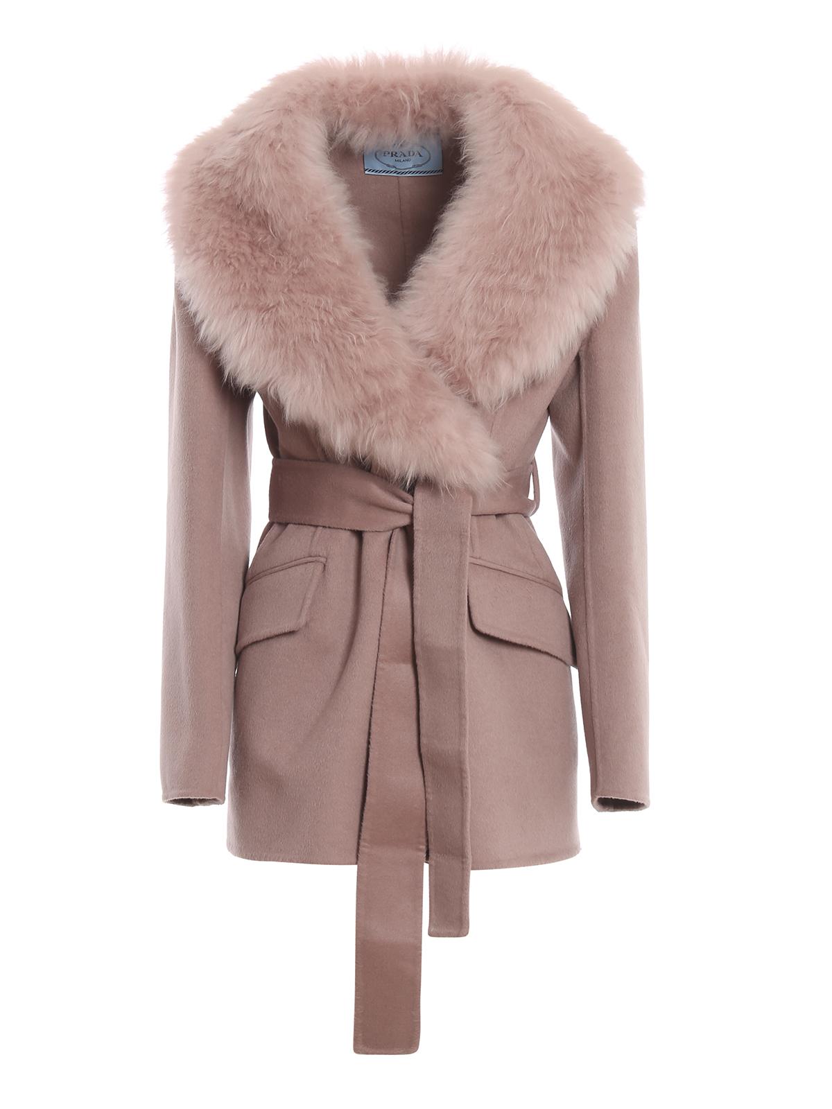 Prada Fur Trimmed Collar Wool And Angora Coat In Pink