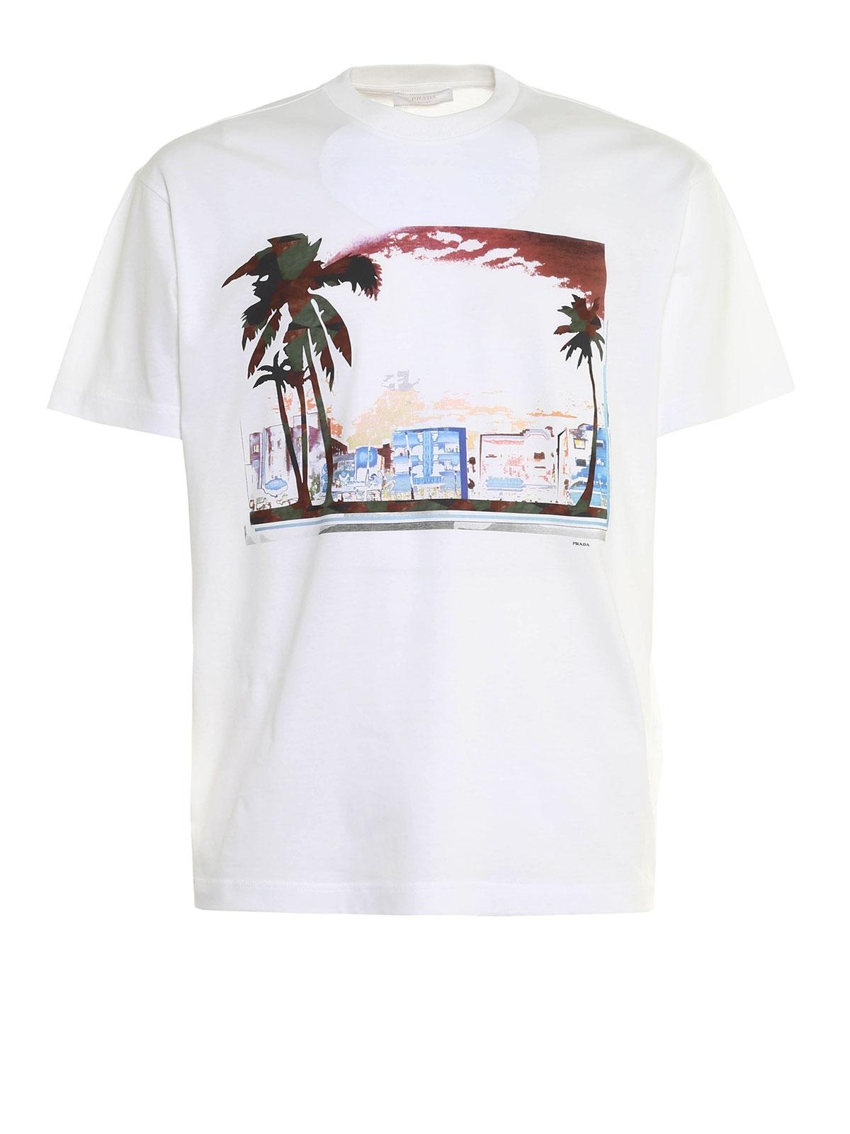 Postcard Neon Print Cotton T Shirt By Prada T Shirts Ikrix