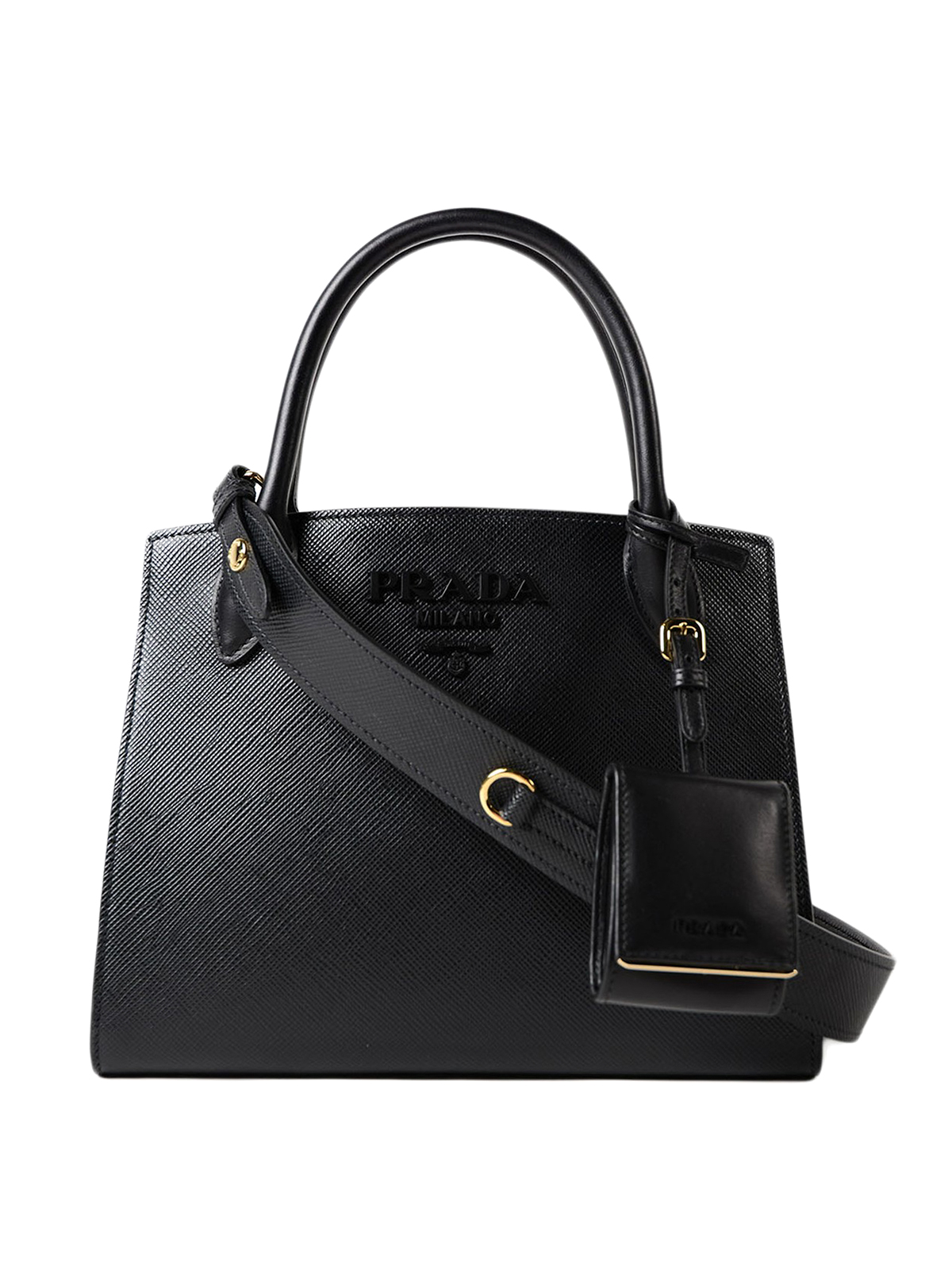 Monochrome leather bag by Prada - totes bags | Shop online ...